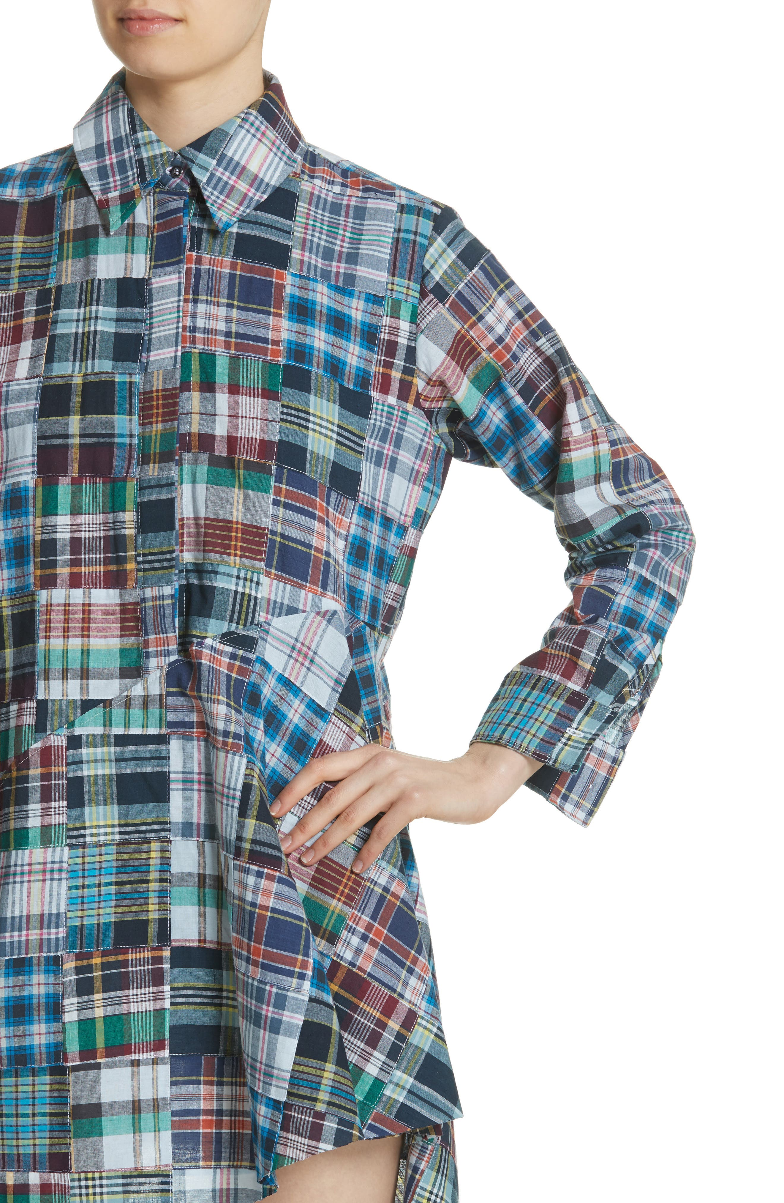 Marques'Almeida Asymmetric Patchwork Plaid Shirtdress,                             Alternate thumbnail 4, color,                             Navy/Multi