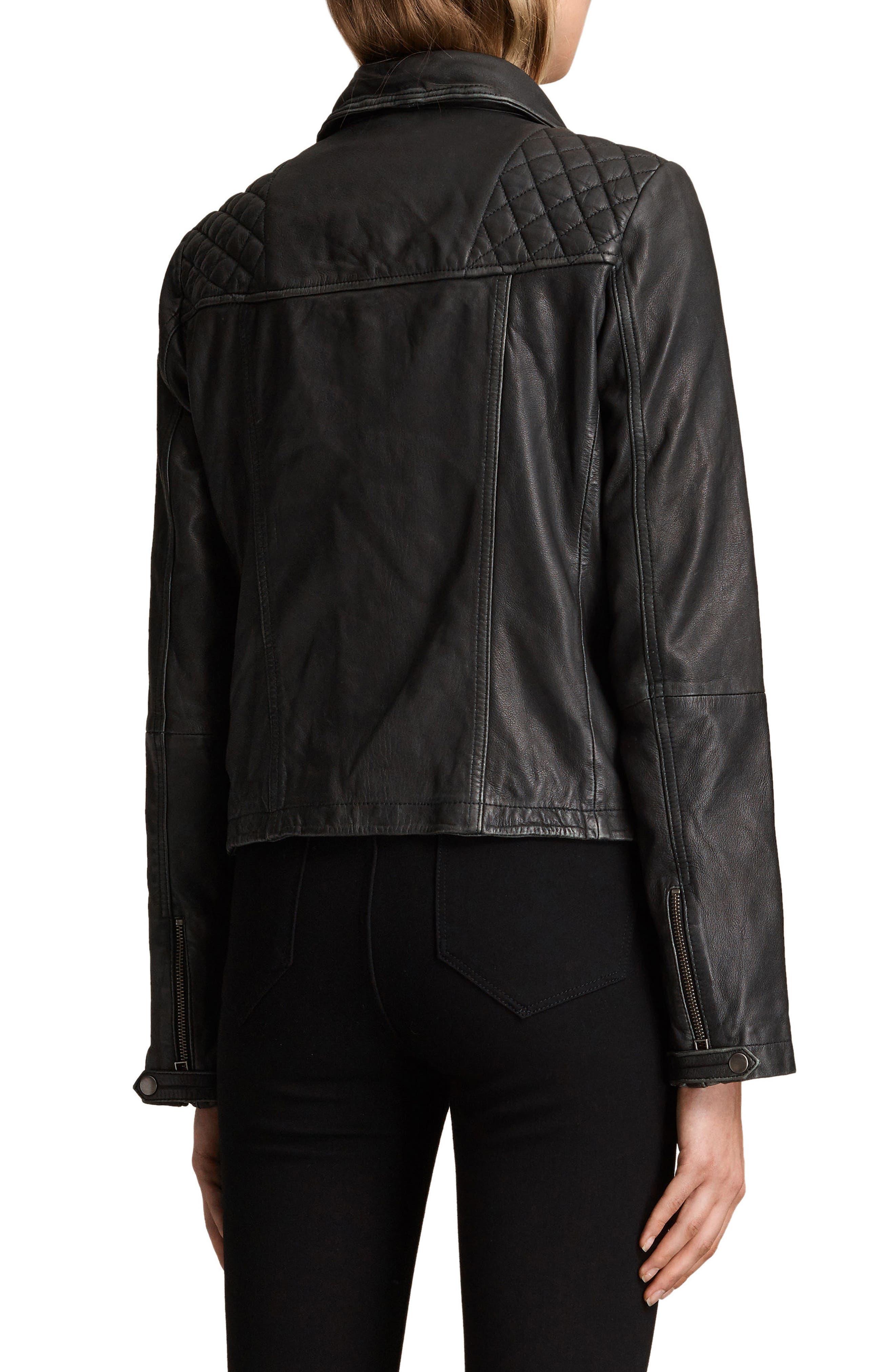 Cargo Leather Biker Jacket,                             Alternate thumbnail 2, color,                             Black/ Grey
