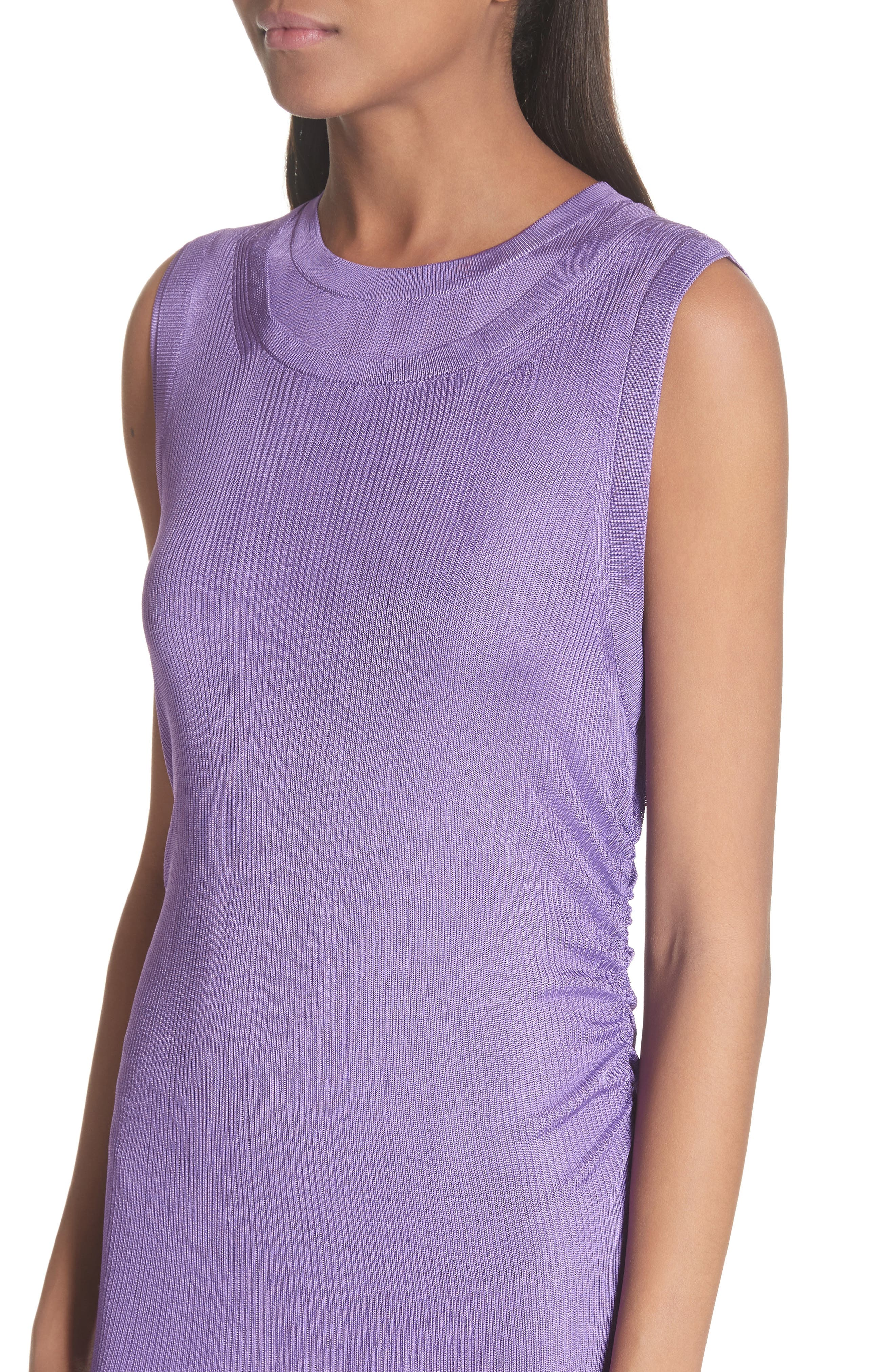 Ruched Side Layered Rib Knit Dress,                             Alternate thumbnail 4, color,                             Lilas