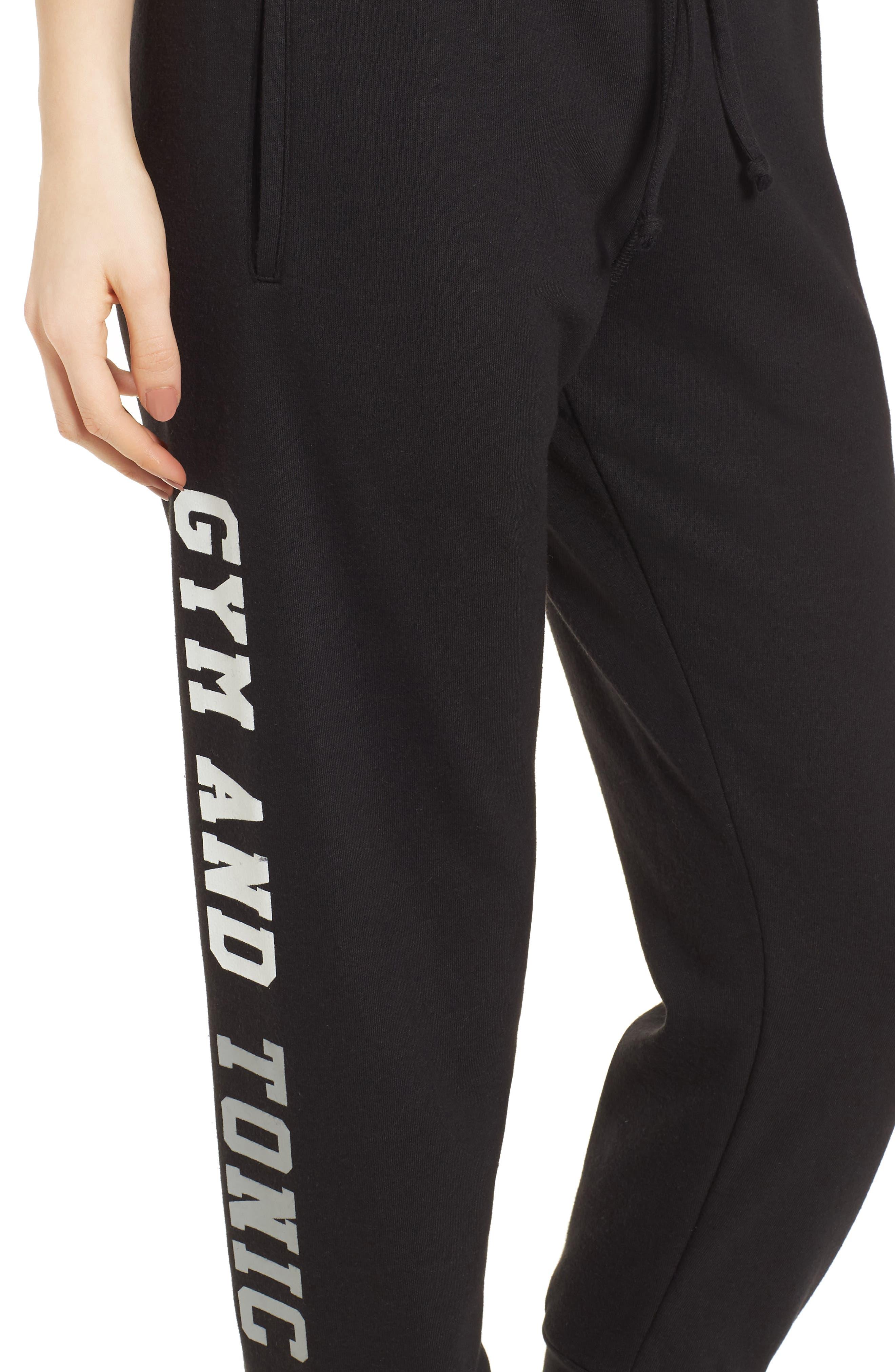 Gym & Tonic Crop Sweatpants,                             Alternate thumbnail 4, color,                             Black