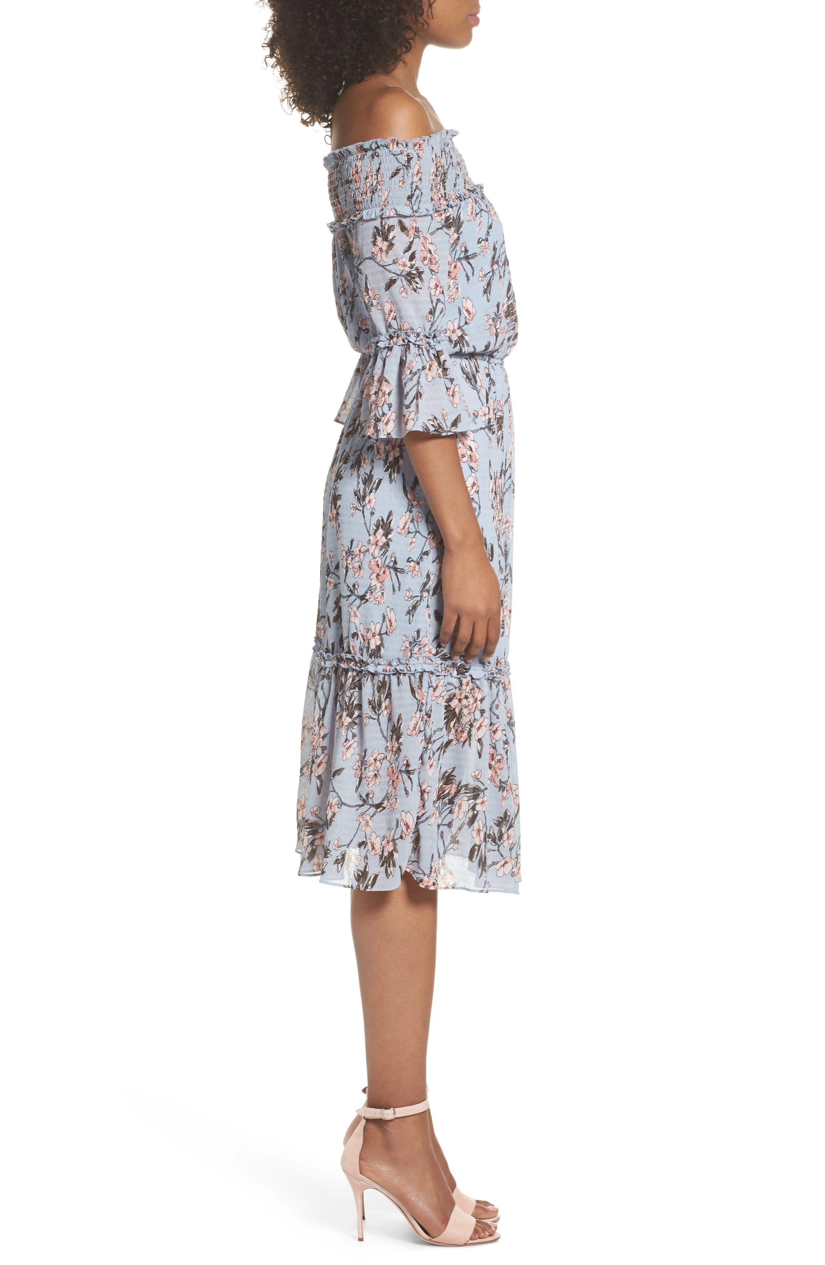 Off the Shoulder Midi Dress,                             Alternate thumbnail 3, color,                             Light Blue Sakura Floral