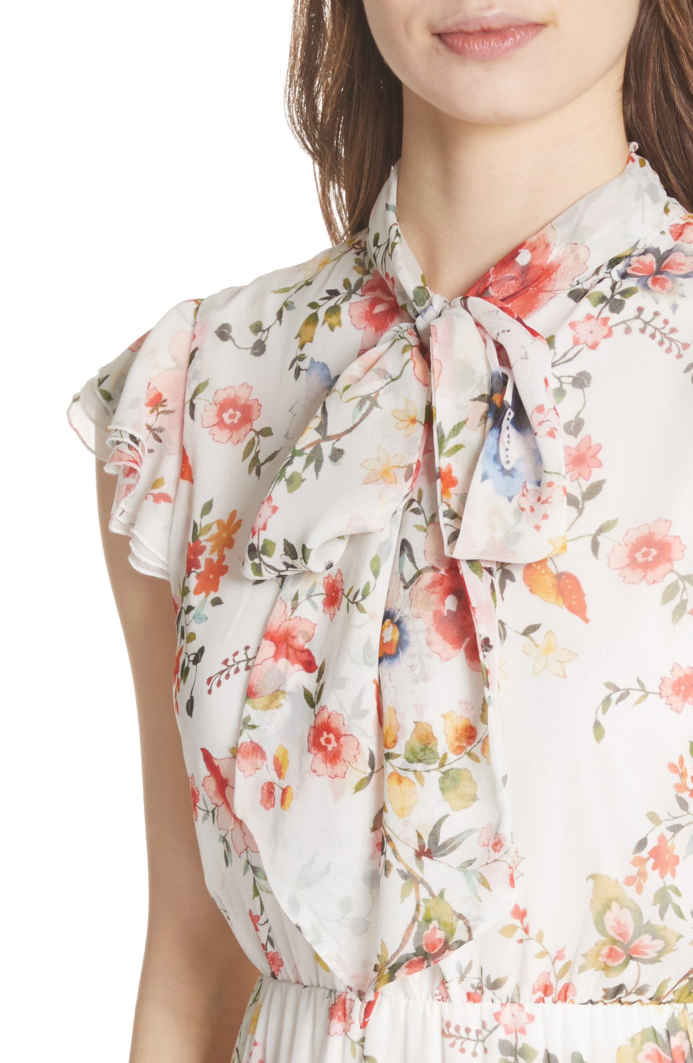 Lessie Ruffled Floral Silk Dress,                             Alternate thumbnail 4, color,                             Floral Soiree-Soft White