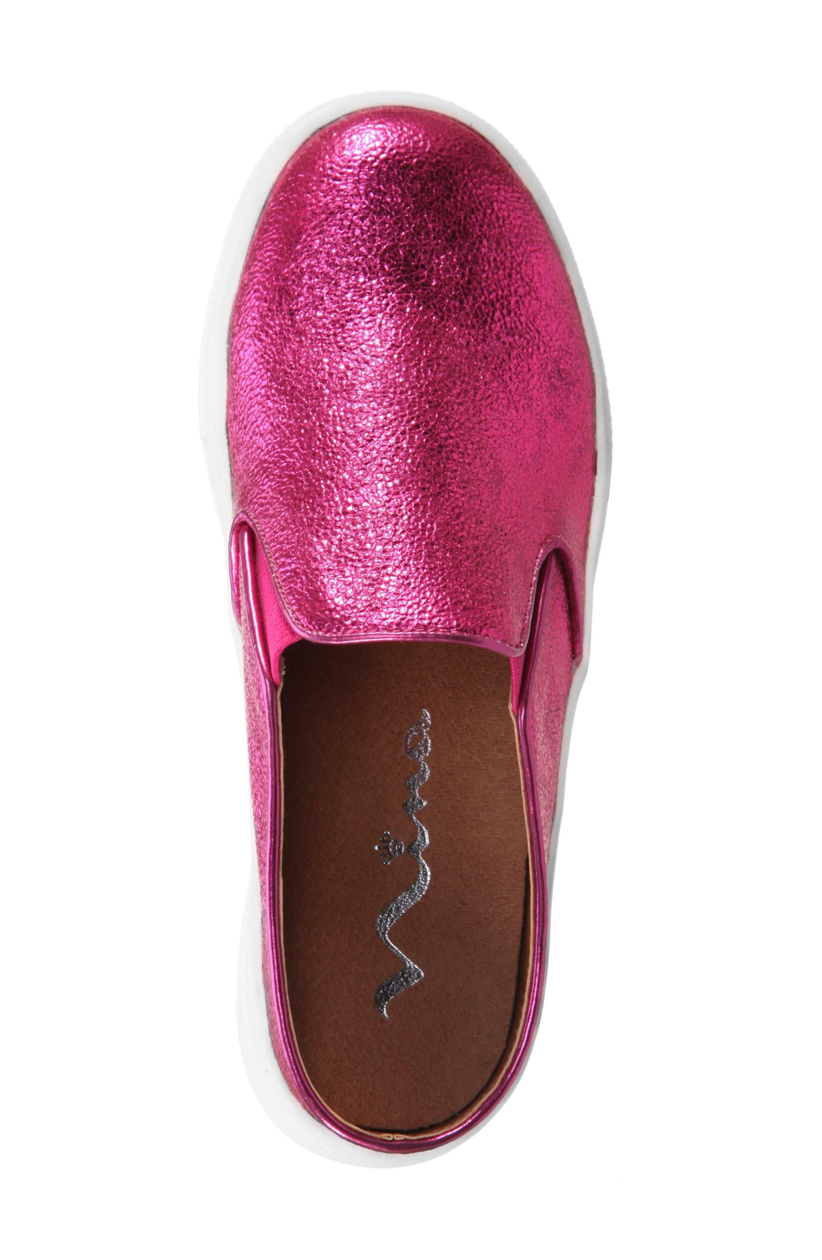 Gail Metallic Slip-On Sneaker Mule,                             Alternate thumbnail 4, color,                             Pink Metallic Crackle