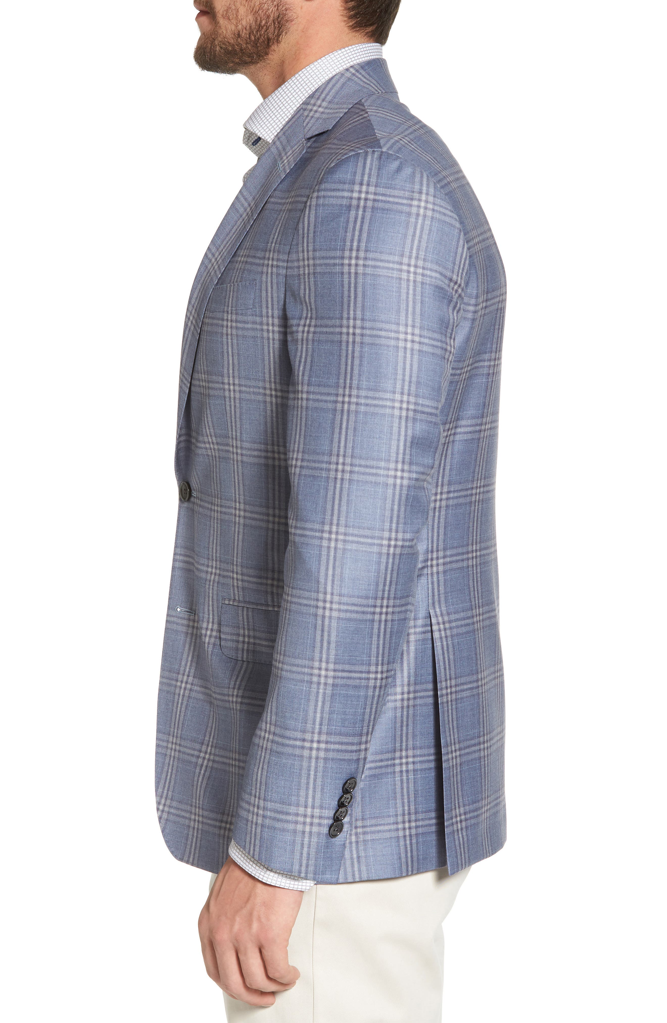 Alternate Image 3  - David Donahue Arnold Classic Fit Plaid Wool Sport Coat