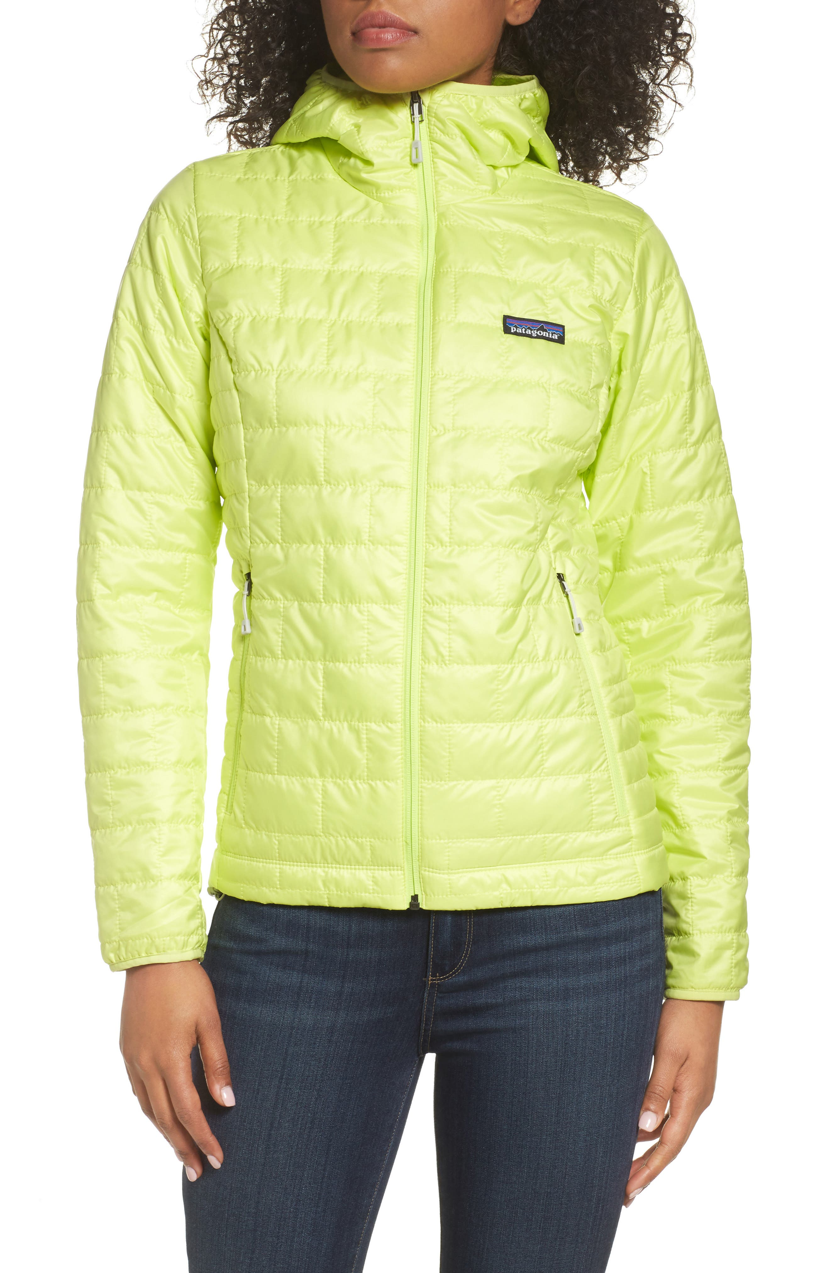 Nano Puff<sup>®</sup> Hooded Water Resistant Jacket,                         Main,                         color, Celery Green