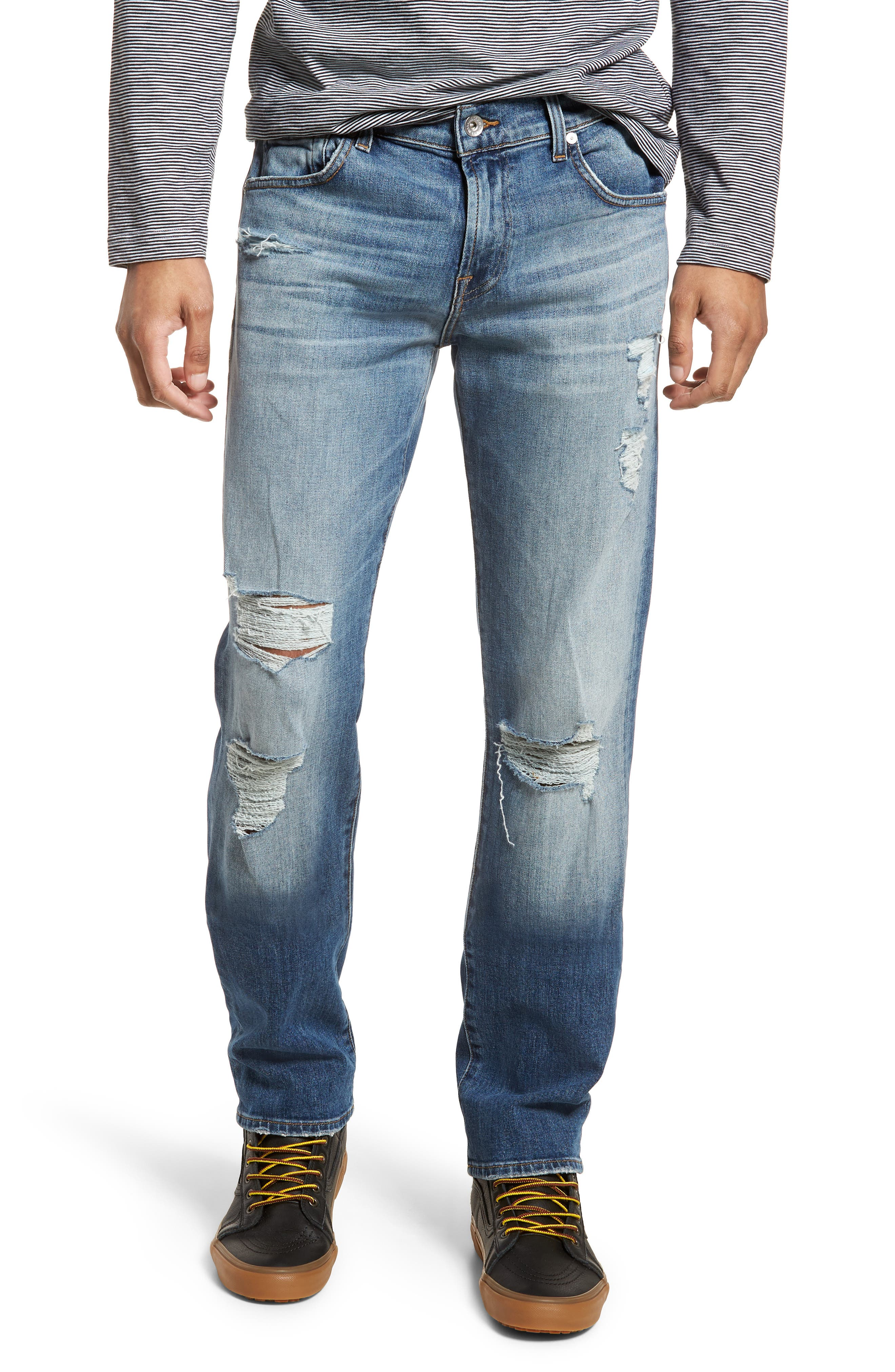 The Straight Slim Straight Leg Jeans,                         Main,                         color, Free Agent Destroyed