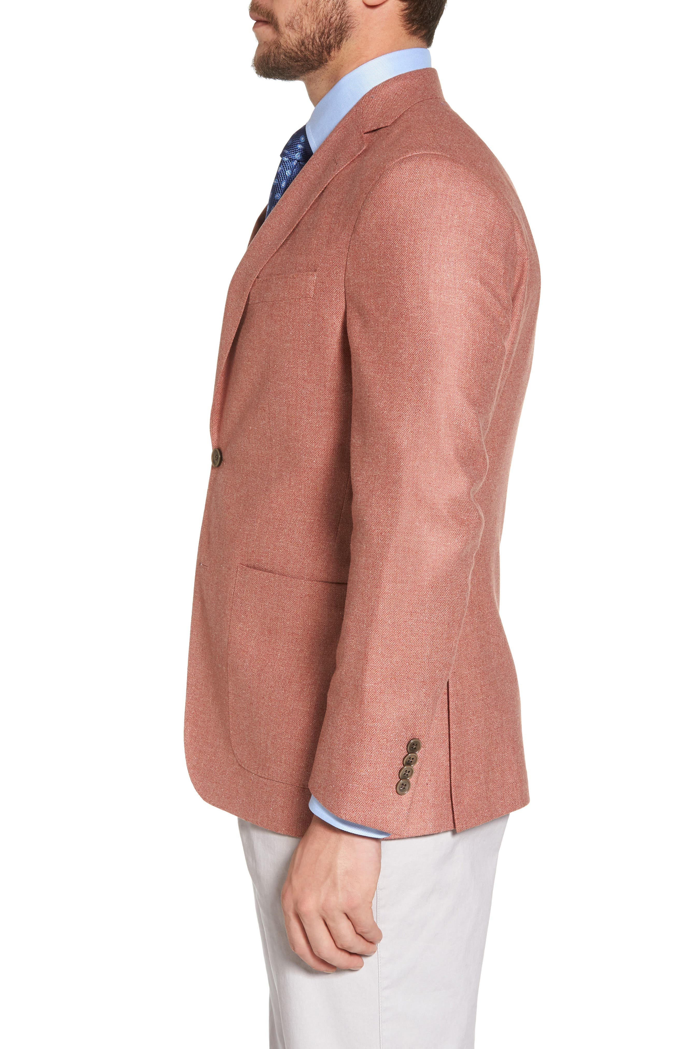 Aiden Classic Fit Silk & Wool Blazer,                             Alternate thumbnail 3, color,                             Salmon