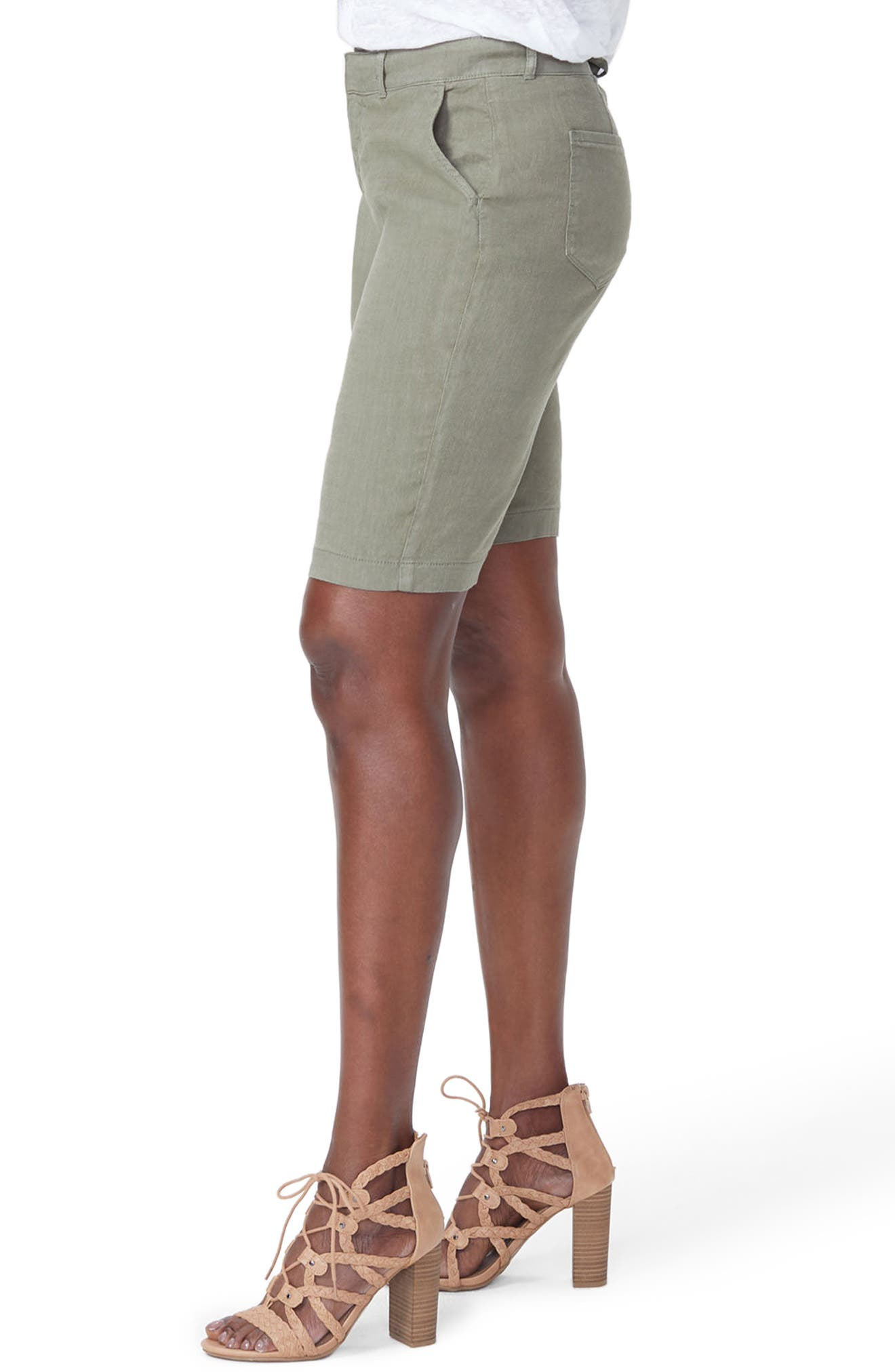 Stretch Linen Blend Bermuda Shorts,                             Alternate thumbnail 3, color,                             Topiary