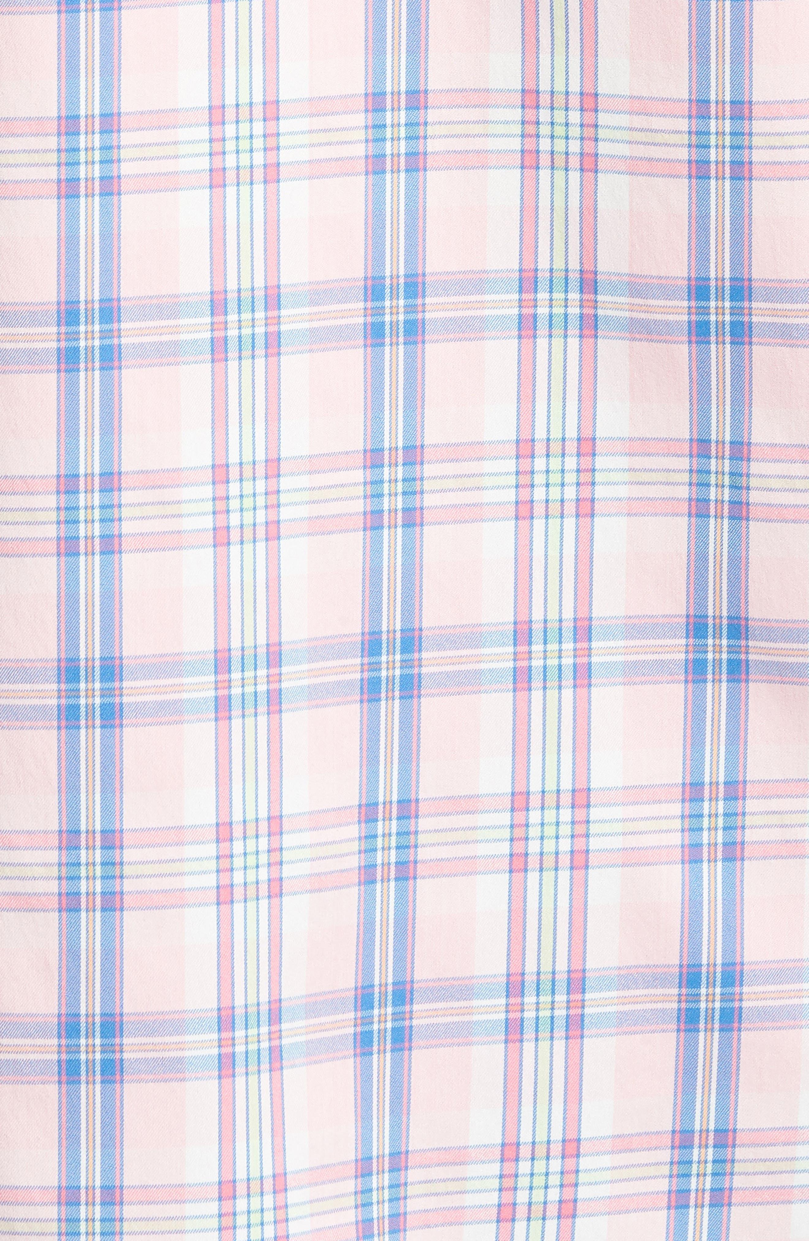 Great Harbor Regular Fit Plaid Stretch Sport Shirt,                             Alternate thumbnail 5, color,                             Lt. Pink