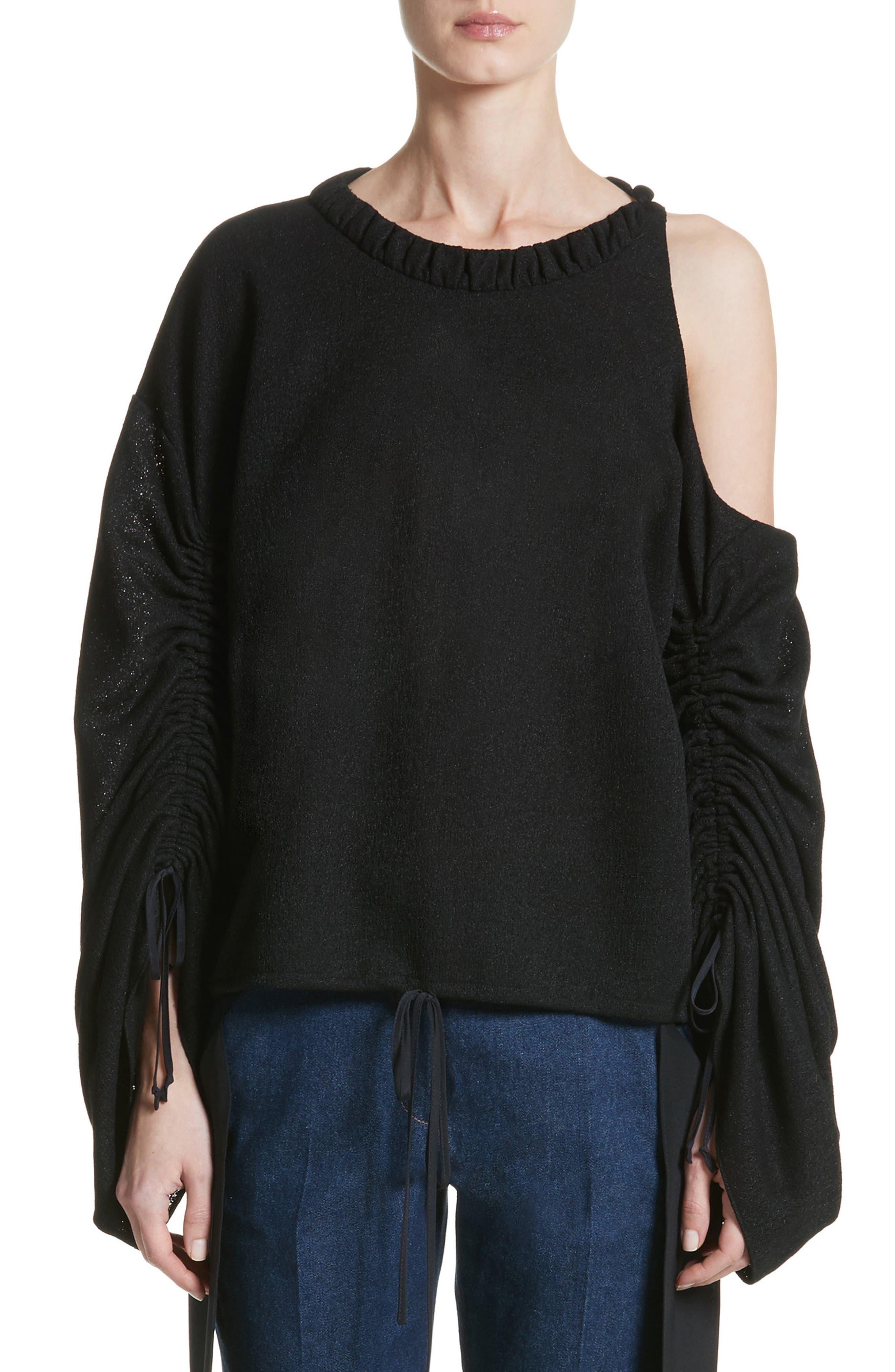 Joshua Cold Shoulder Pullover,                             Main thumbnail 1, color,                             Black