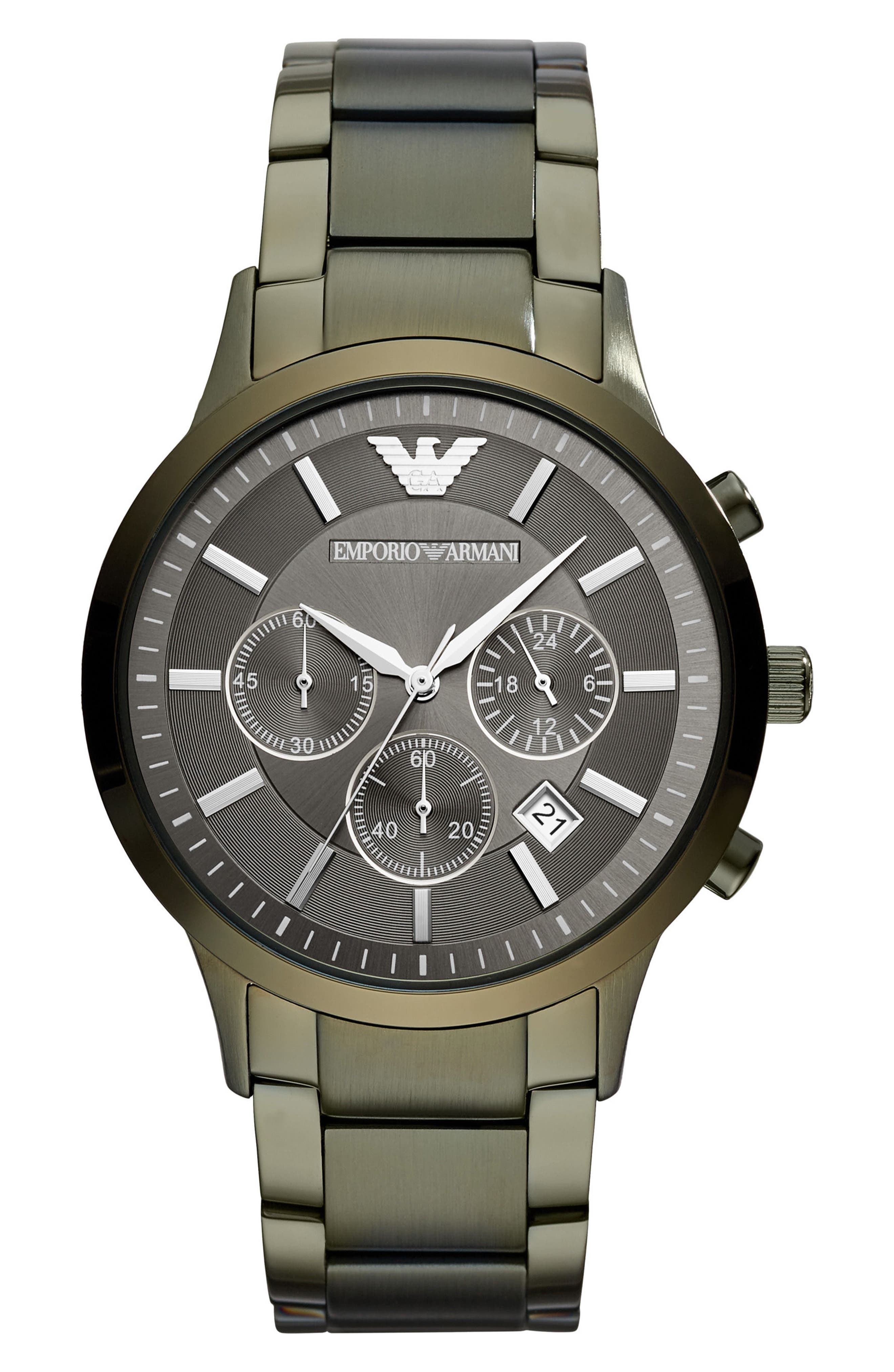 Chronograph Bracelet Watch, 43mm,                             Main thumbnail 1, color,                             Olive/ Olive
