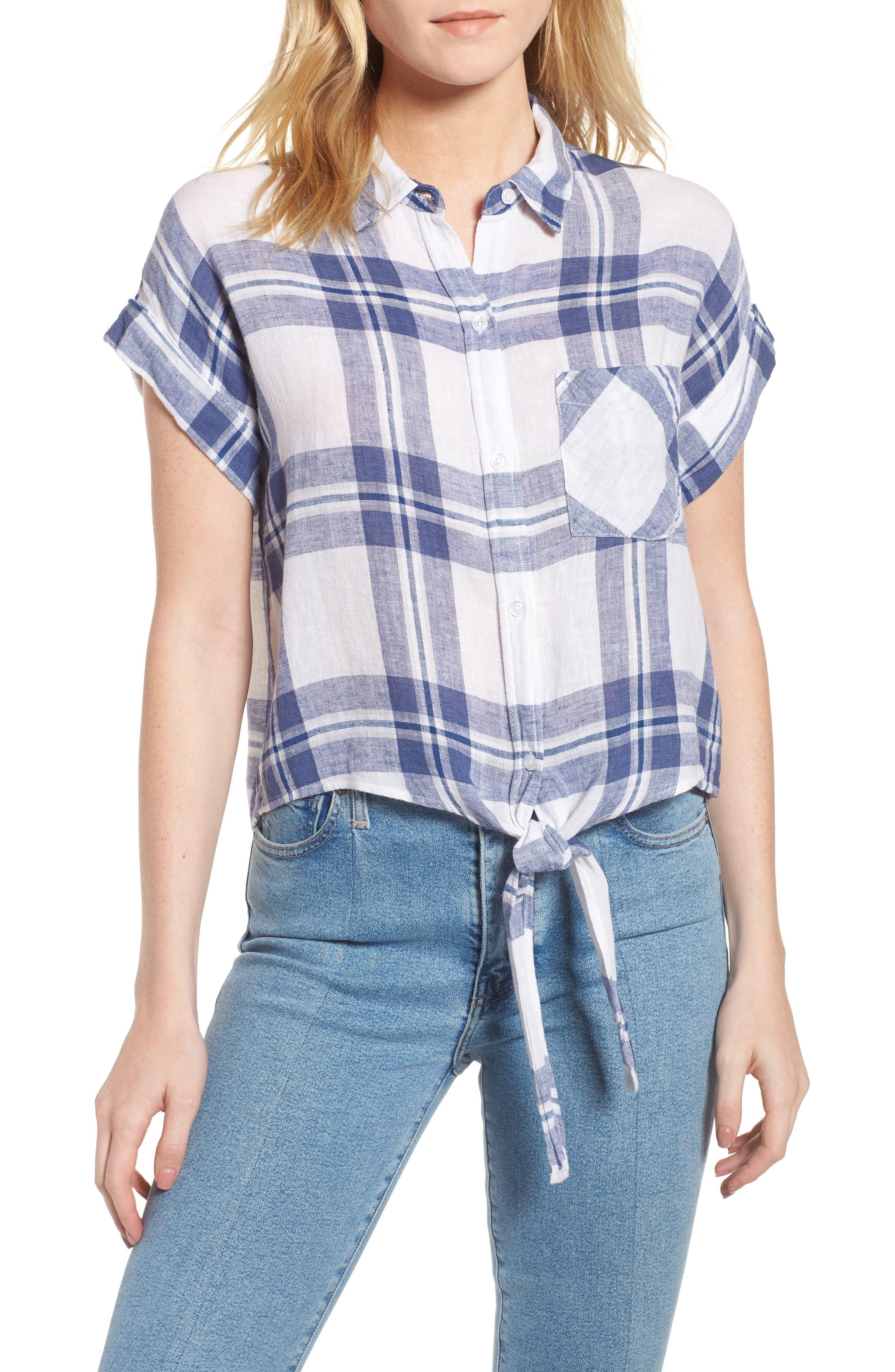 Amelie Tie Front Shirt,                         Main,                         color, Lapis Coast White