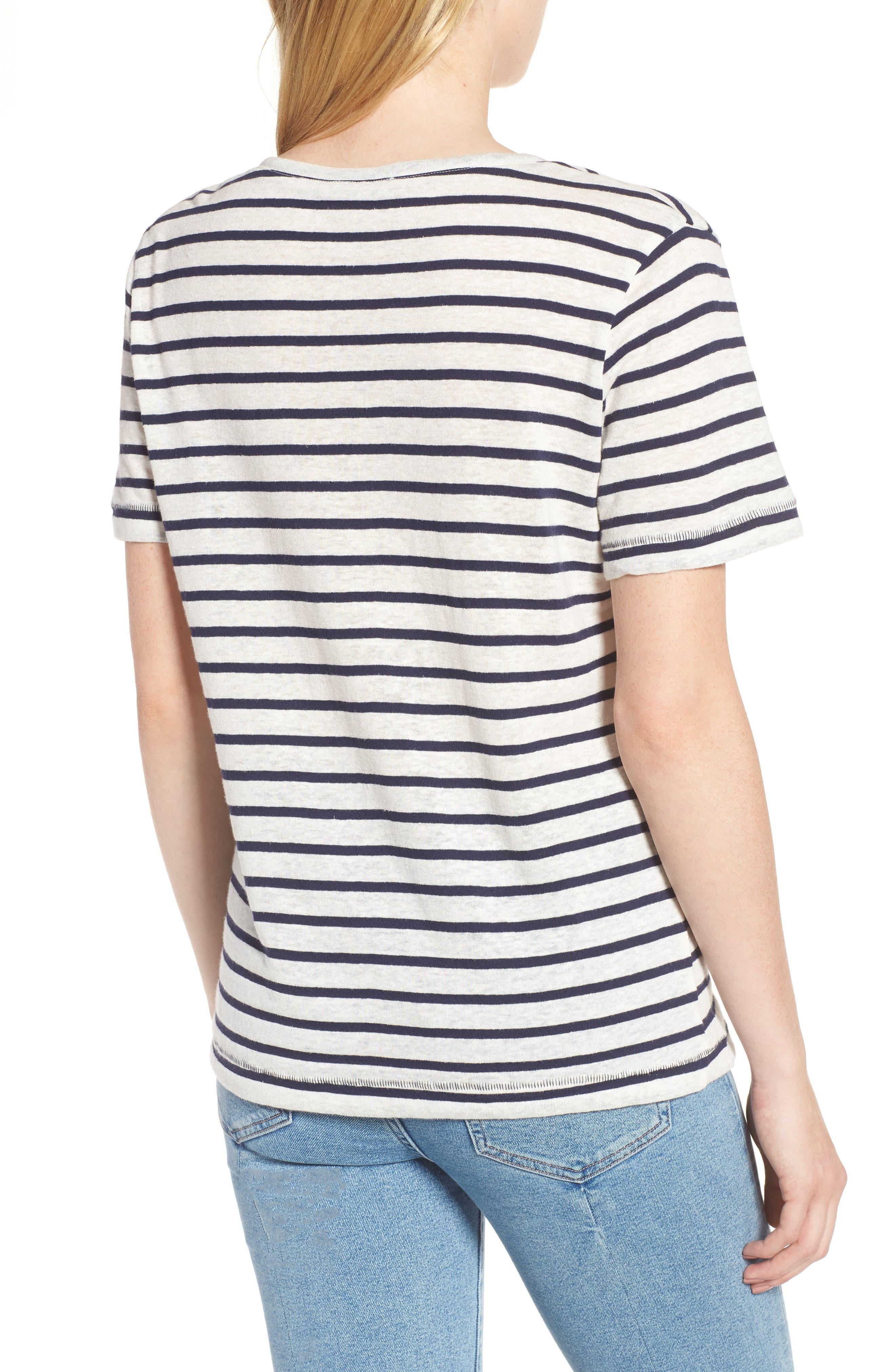 Stripe V-Neck Tee,                             Alternate thumbnail 2, color,                             Navy Stripe