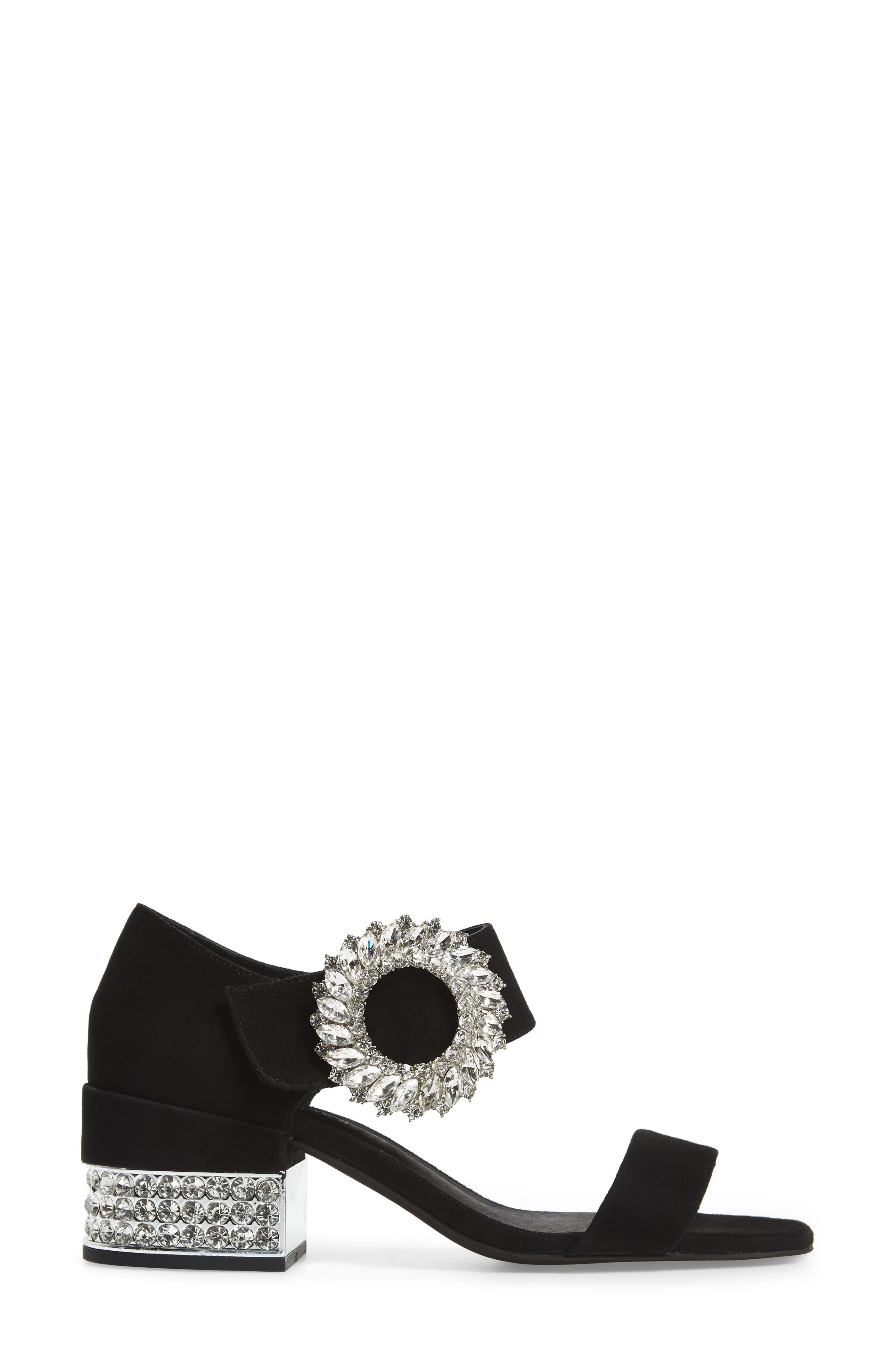 Kaylene Crystal Embellished Sandal,                             Alternate thumbnail 3, color,                             Black/ Silver Suede