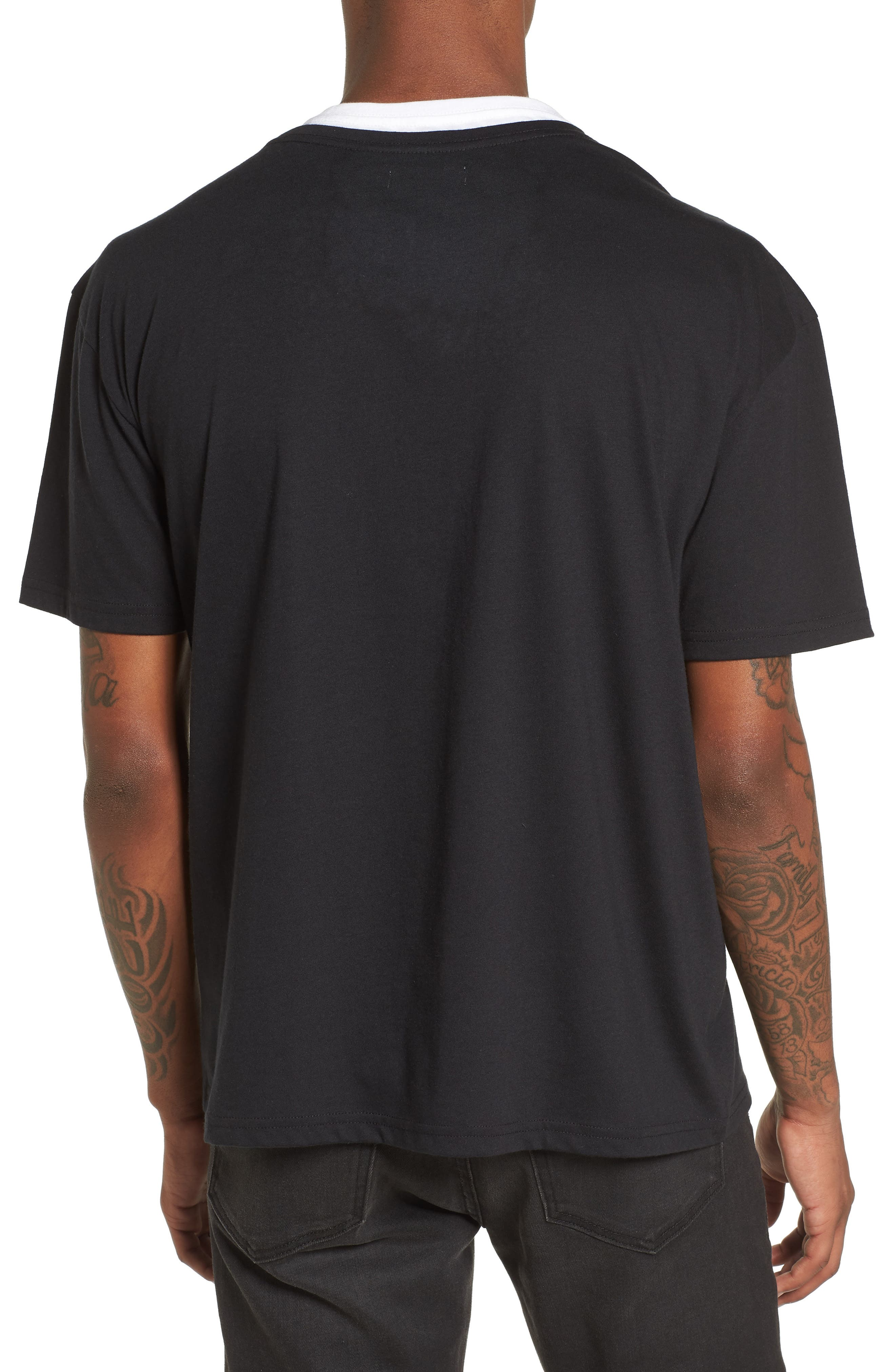 Double Layer T-Shirt,                             Alternate thumbnail 2, color,                             Black/ White