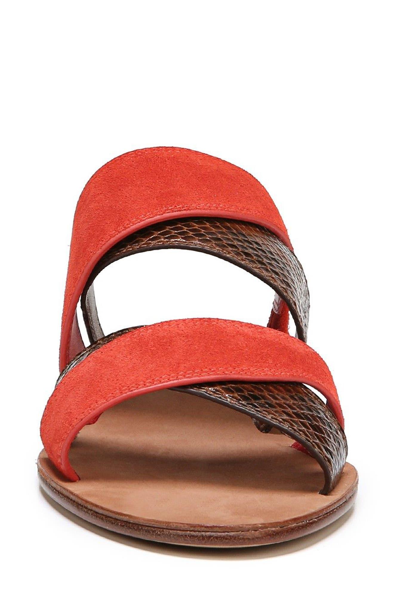 Blake Cross Strap Slide Sandal,                             Alternate thumbnail 4, color,                             Caramel/ Red