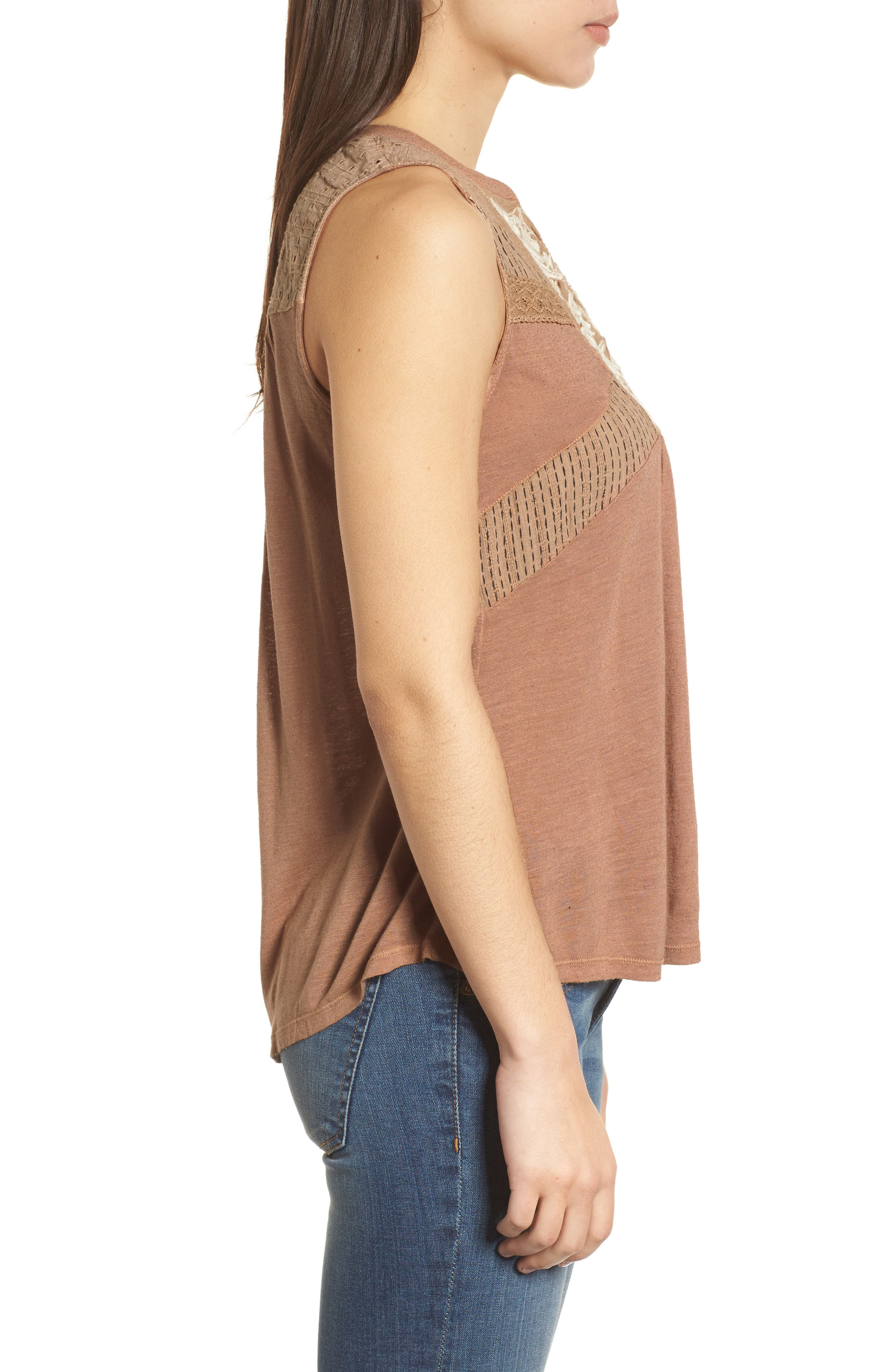 Embroidered Shell,                             Alternate thumbnail 3, color,                             Toffee Blush