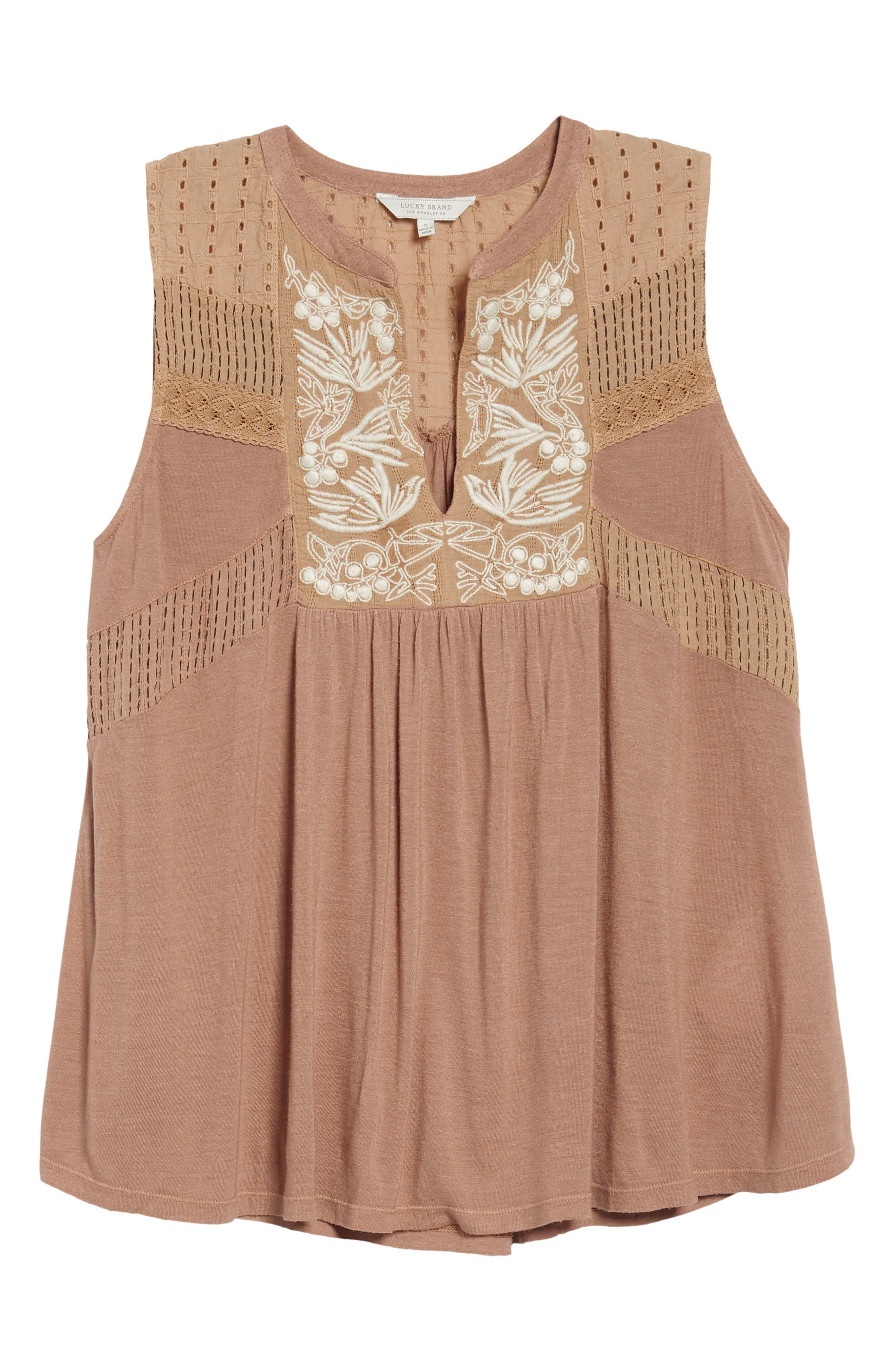 Embroidered Shell,                             Alternate thumbnail 6, color,                             Toffee Blush