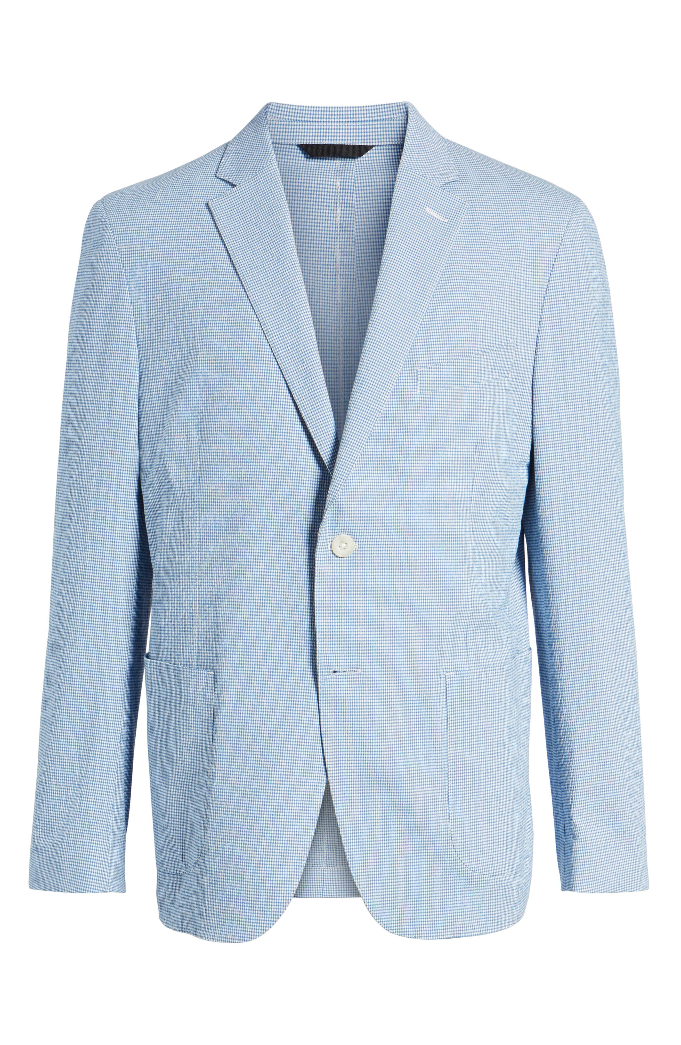 Slim Fit Microcheck Soft Sport Coat,                             Alternate thumbnail 6, color,                             Blue
