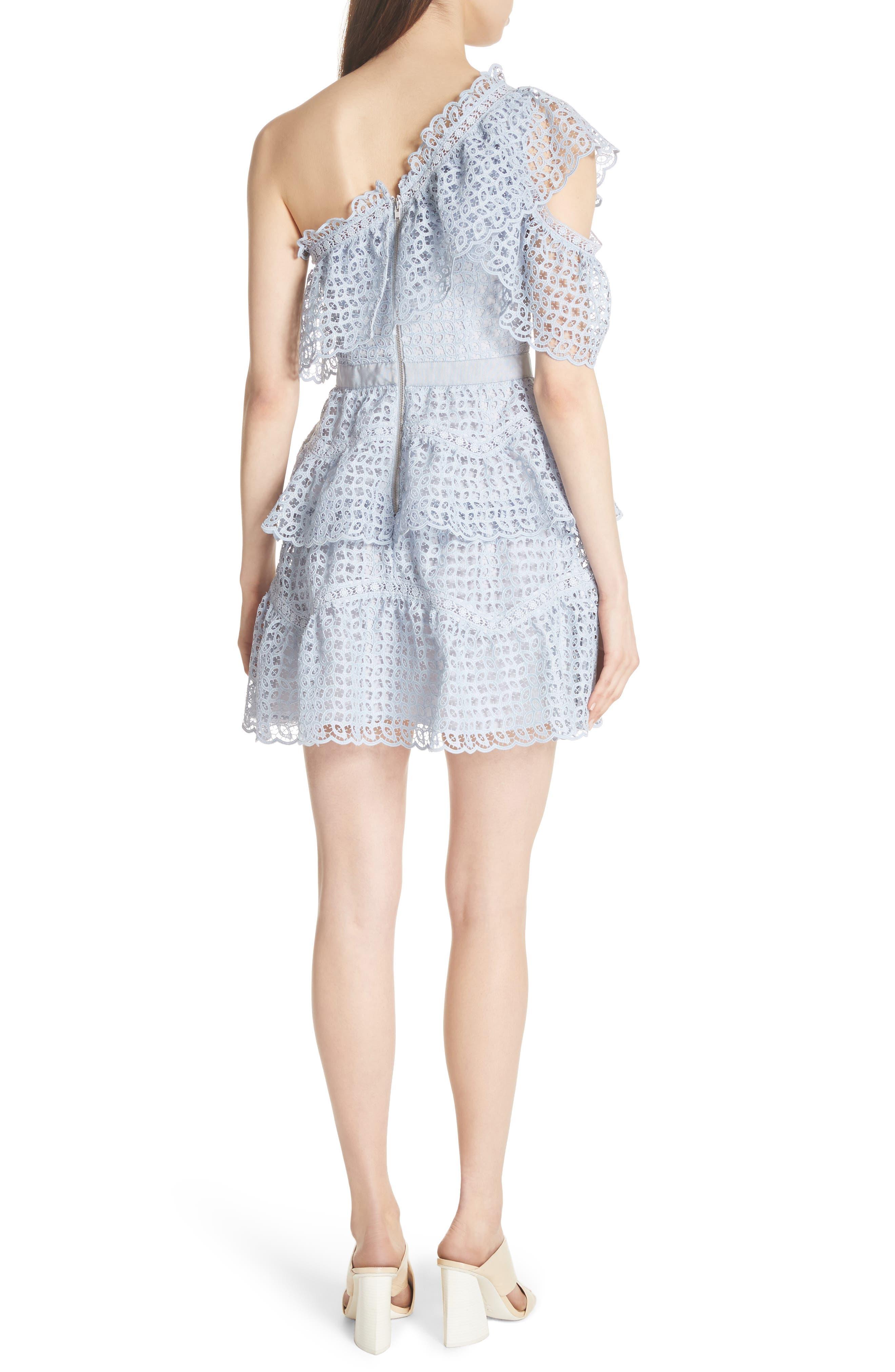 One-Shoulder Cutwork Organza Dress,                             Alternate thumbnail 2, color,                             Pale Blue