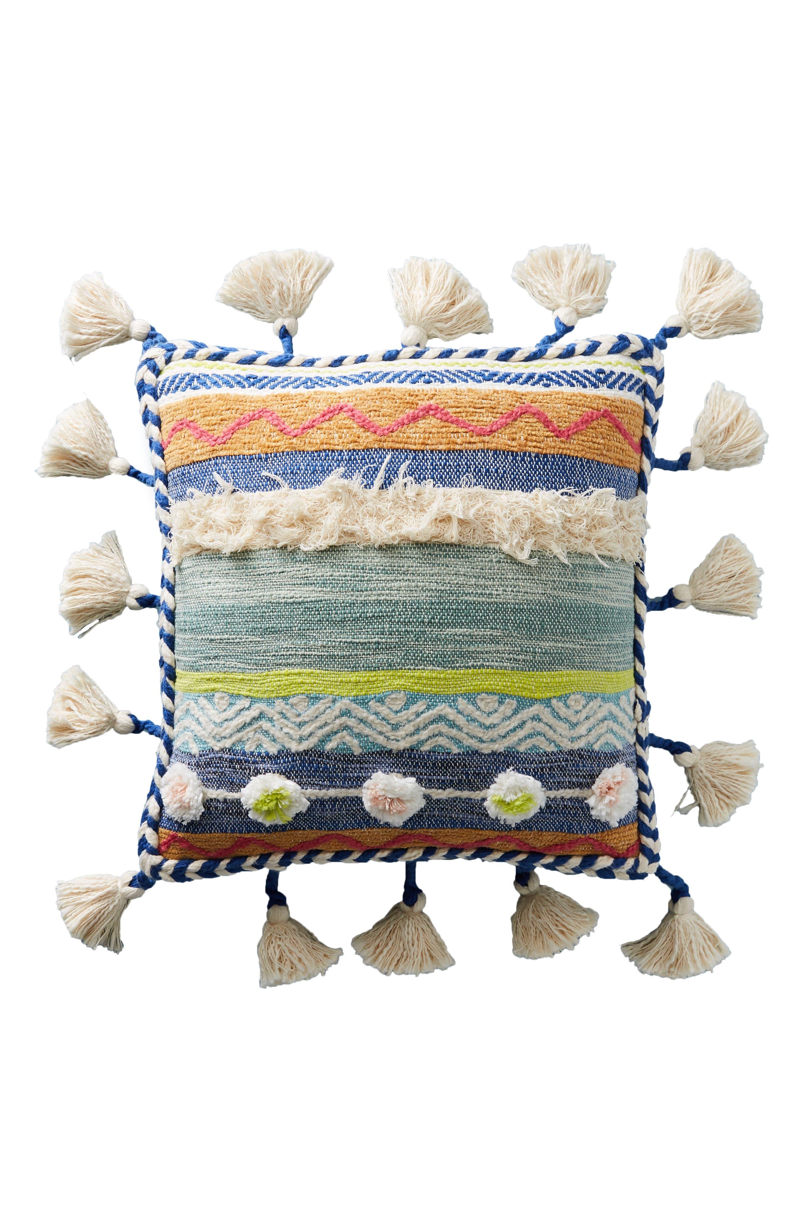 Woven Rami Accent Pillow,                             Alternate thumbnail 6, color,                             Blue Combo