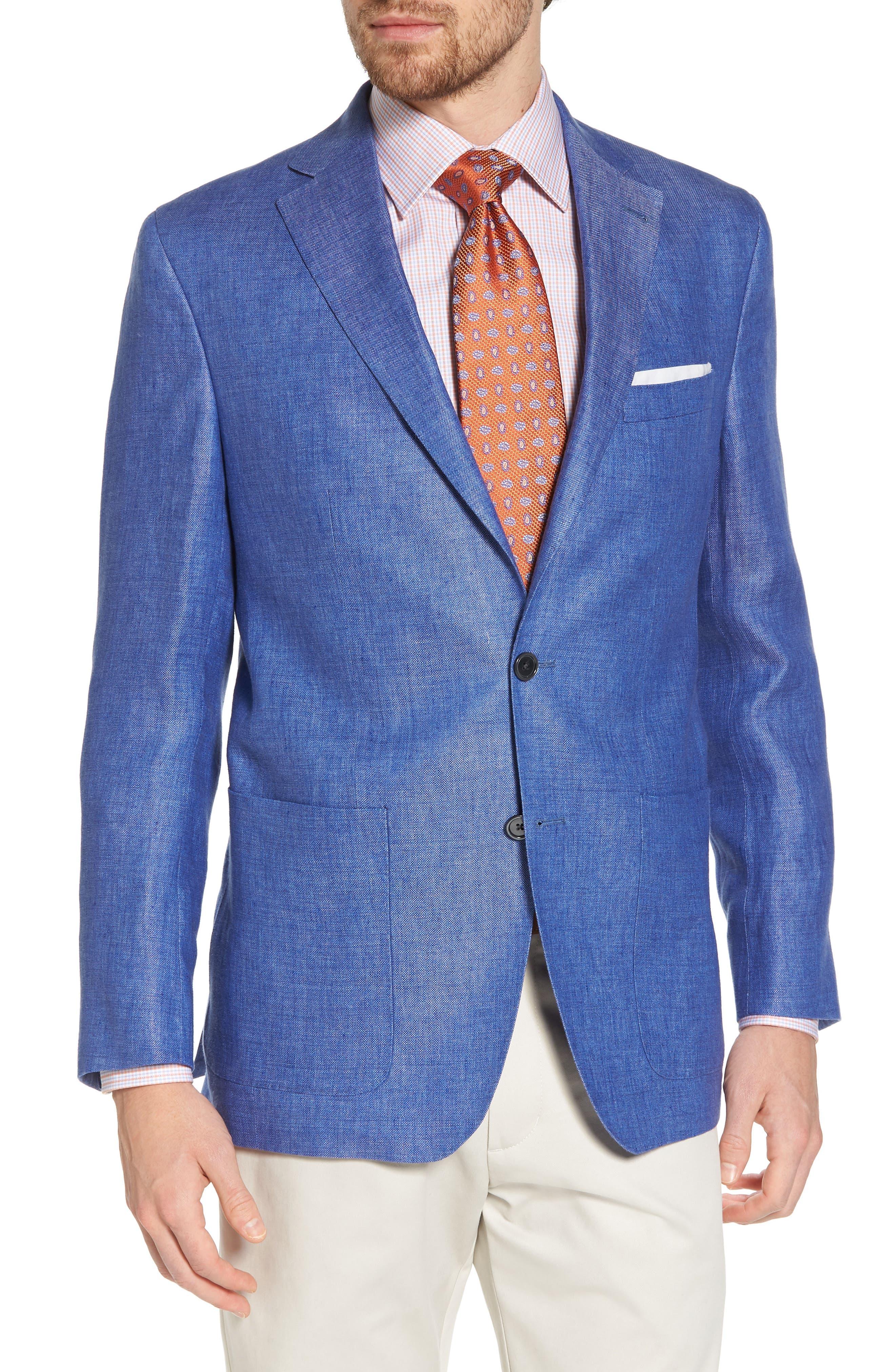 Aiden Classic Fit Linen Blazer,                         Main,                         color, Blue