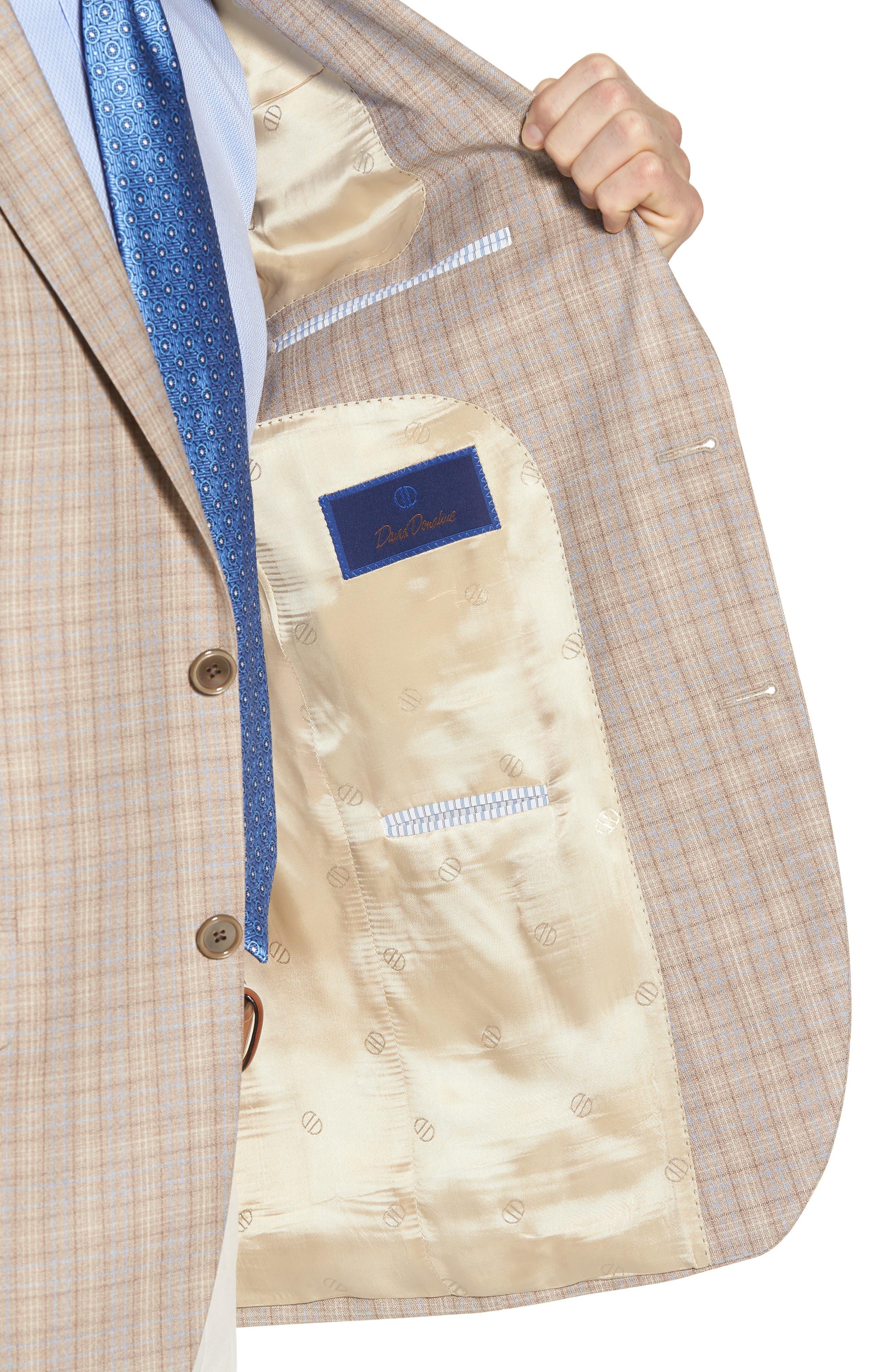 Arnold Classic Fit Plaid Wool Sport Coat,                             Alternate thumbnail 4, color,                             Tan