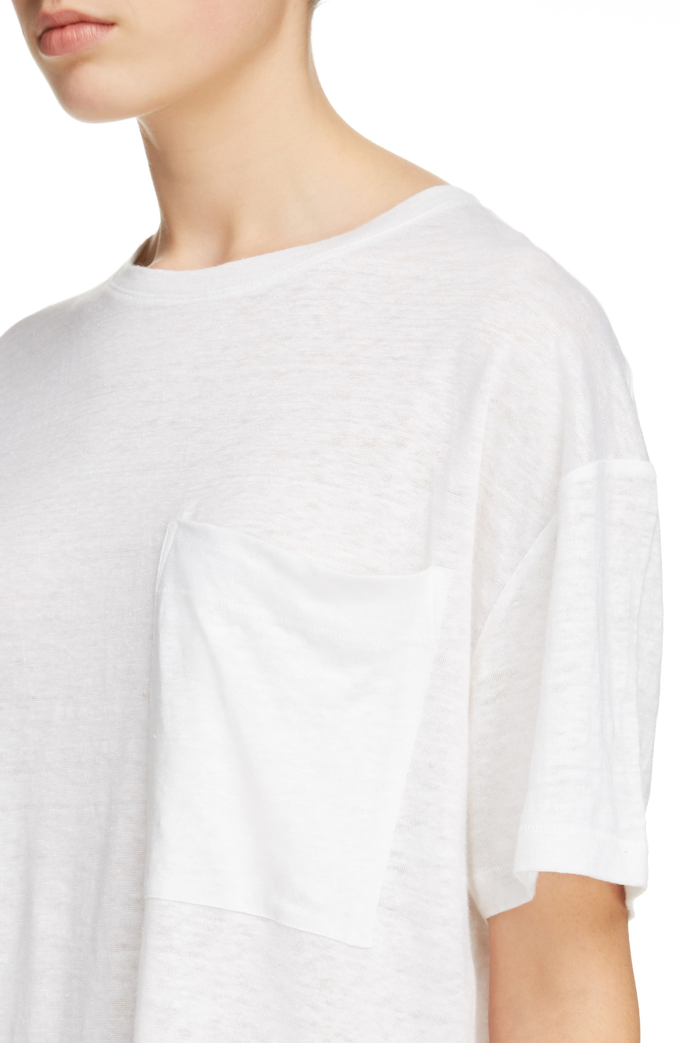Saga Linen T-Shirt Dress,                             Alternate thumbnail 4, color,                             Optic White