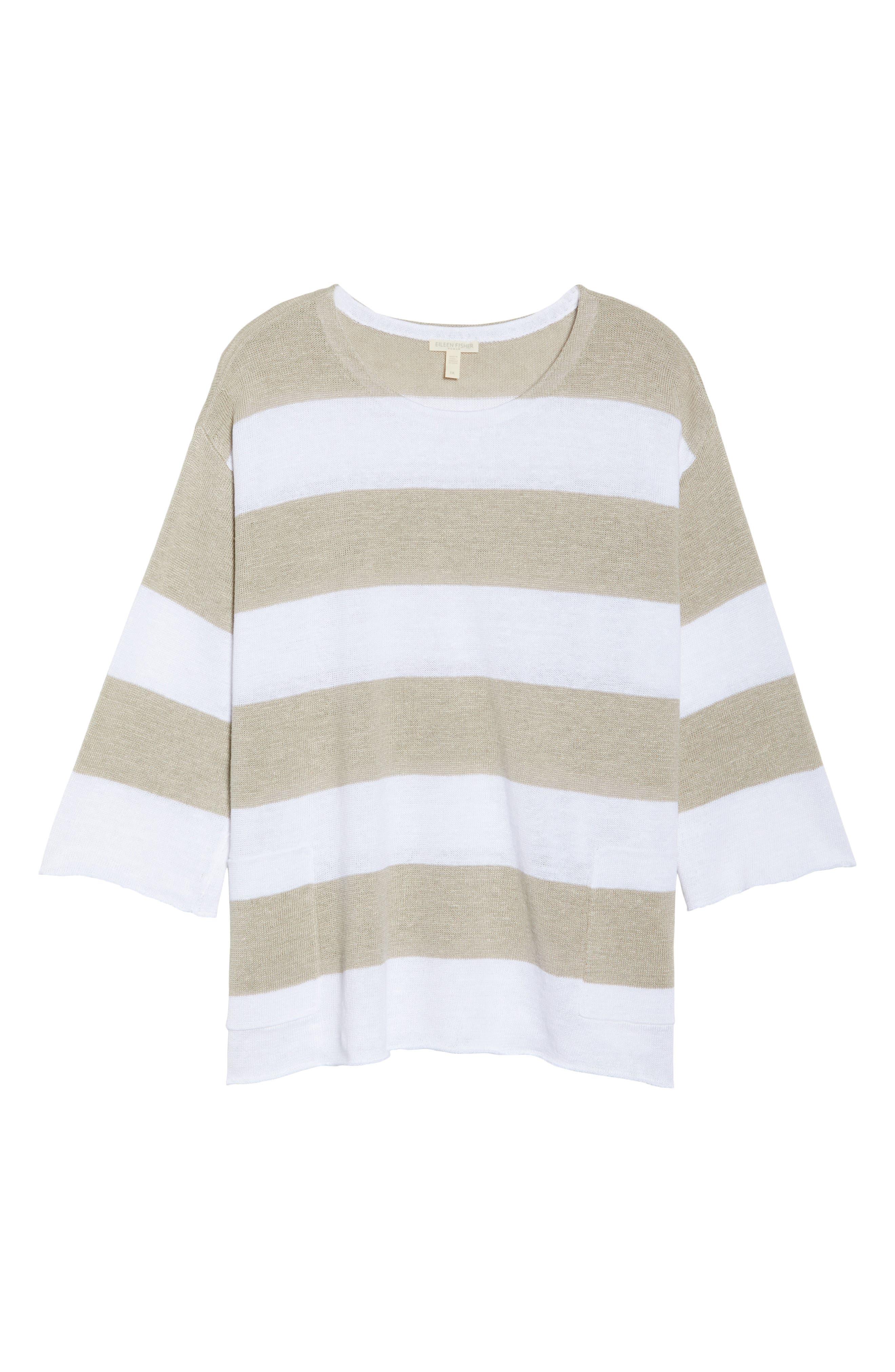 Stripe Linen Sweater,                             Alternate thumbnail 6, color,                             White/ Natural
