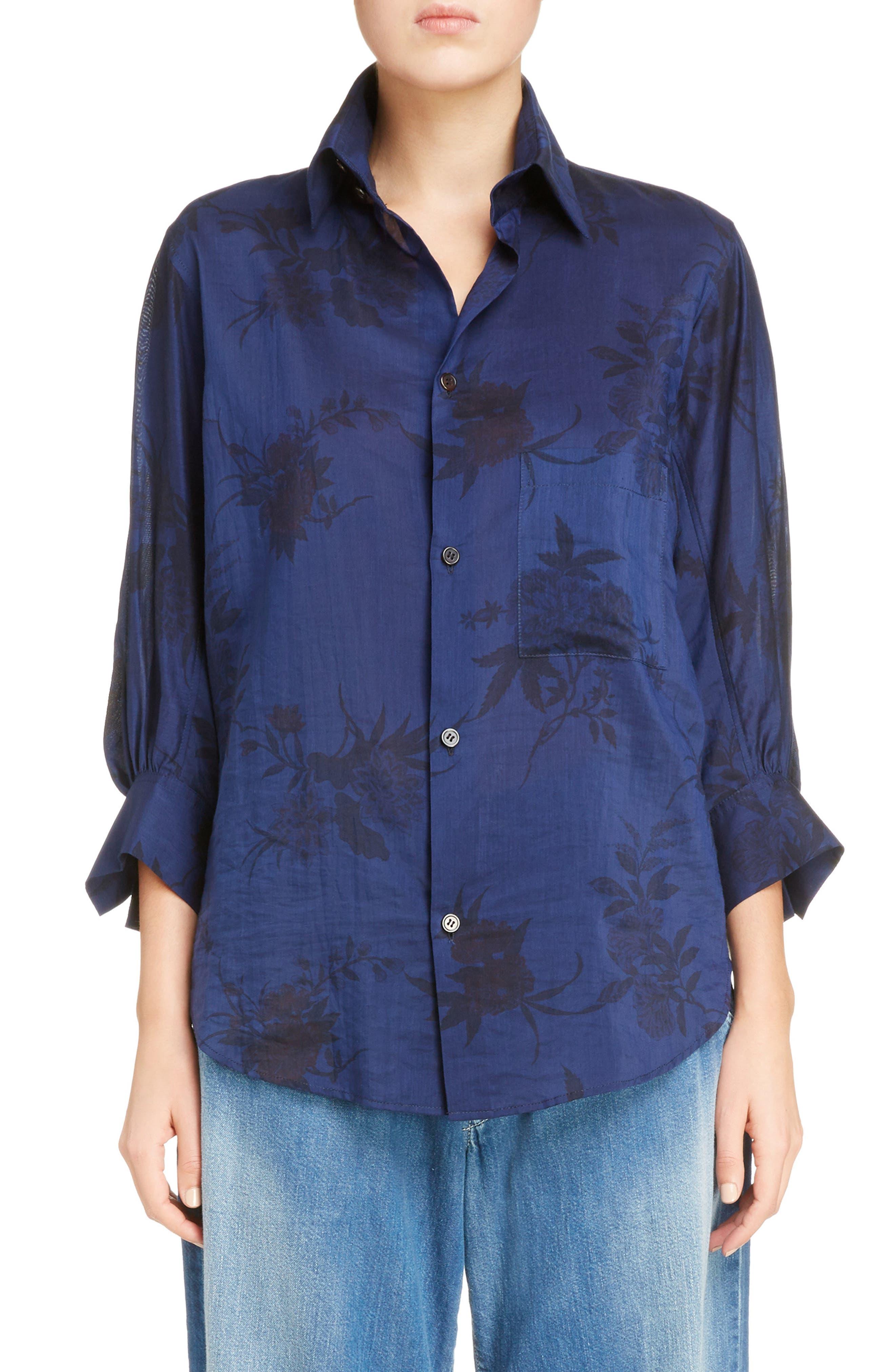 Floral Print Shirt,                         Main,                         color, Blue