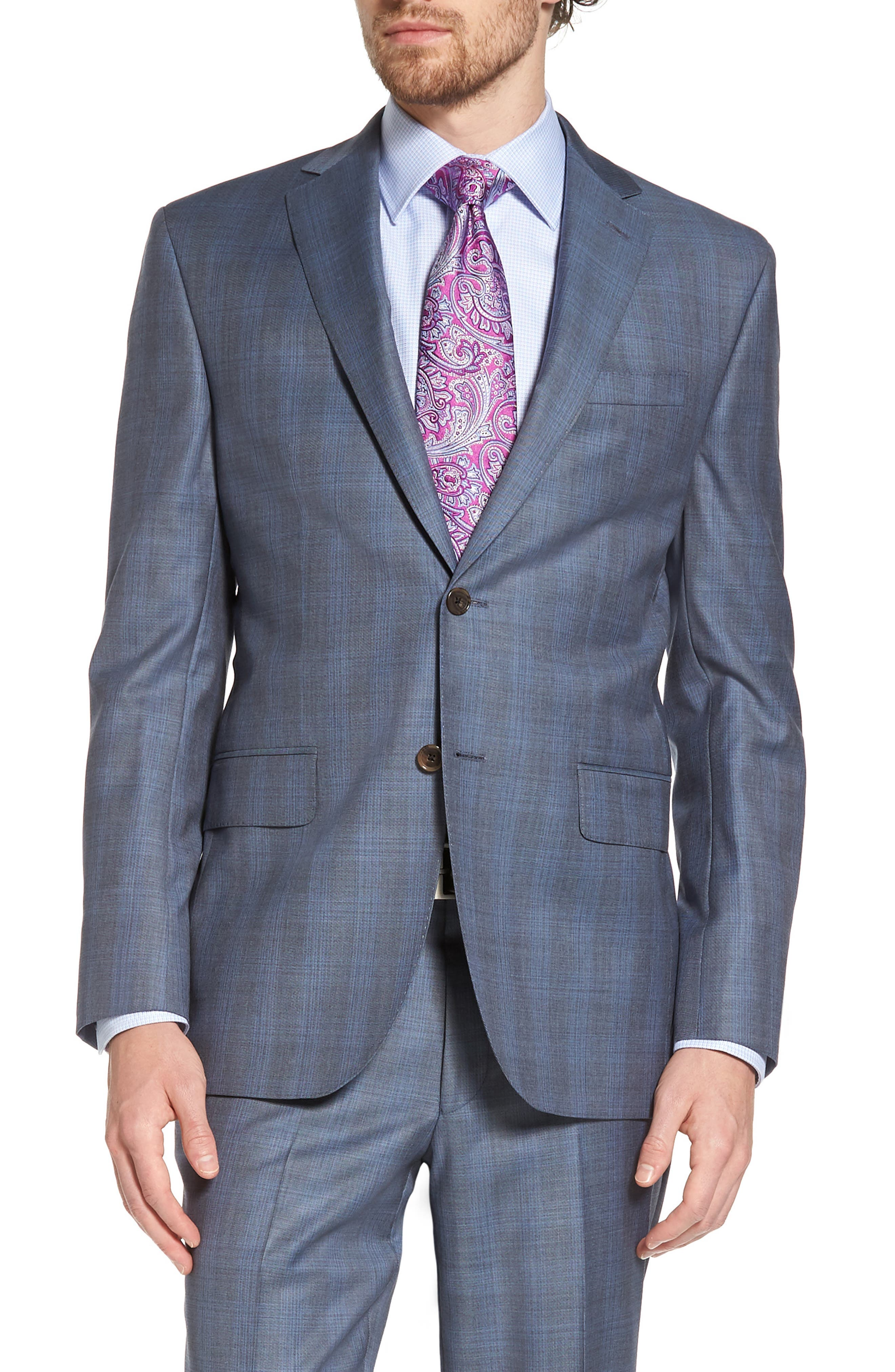 Ryan Classic Fit Plaid Wool Suit,                             Alternate thumbnail 4, color,                             Grey