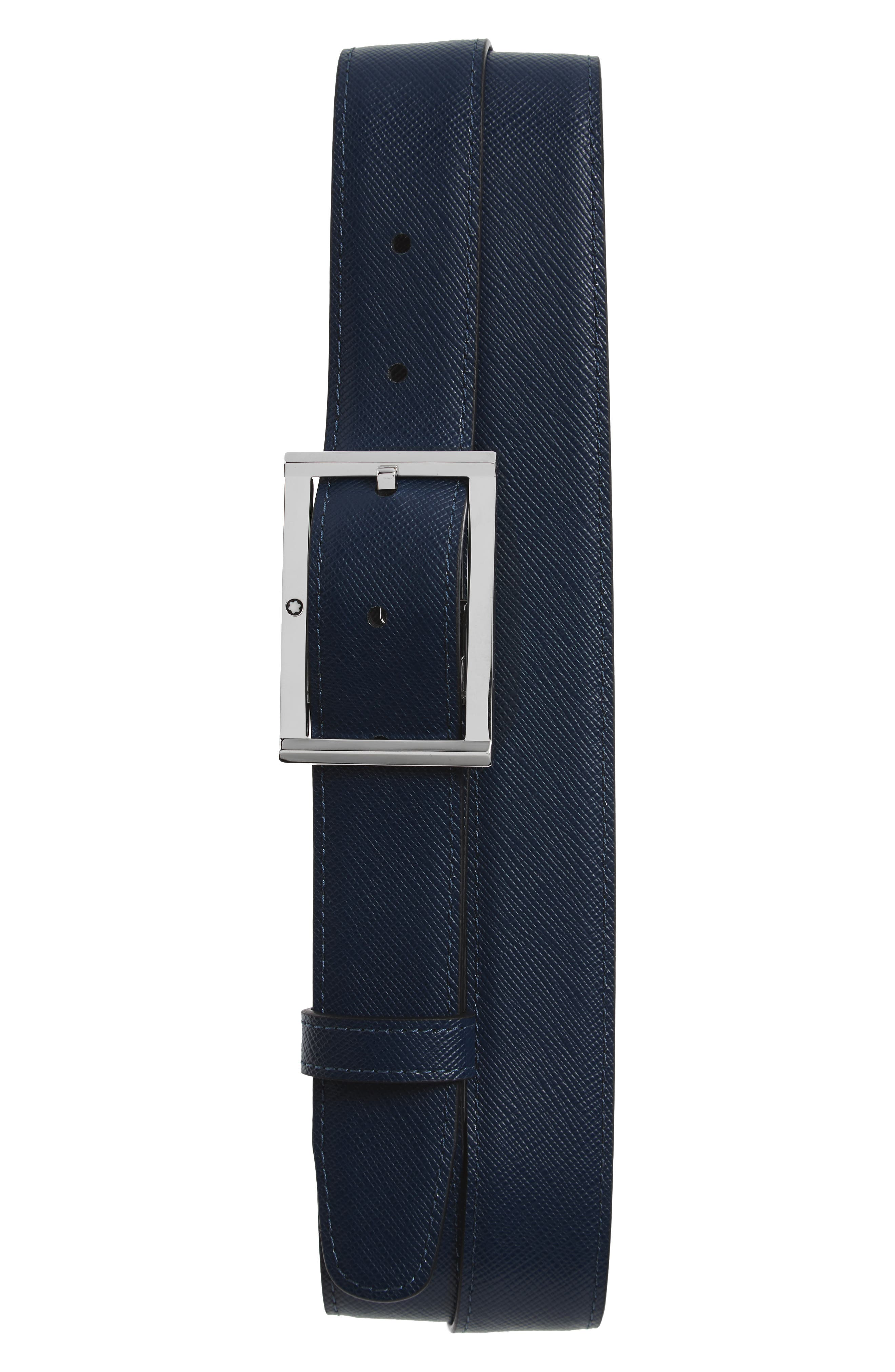 Reversible Leather Belt,                             Main thumbnail 1, color,                             Black/ Indigo