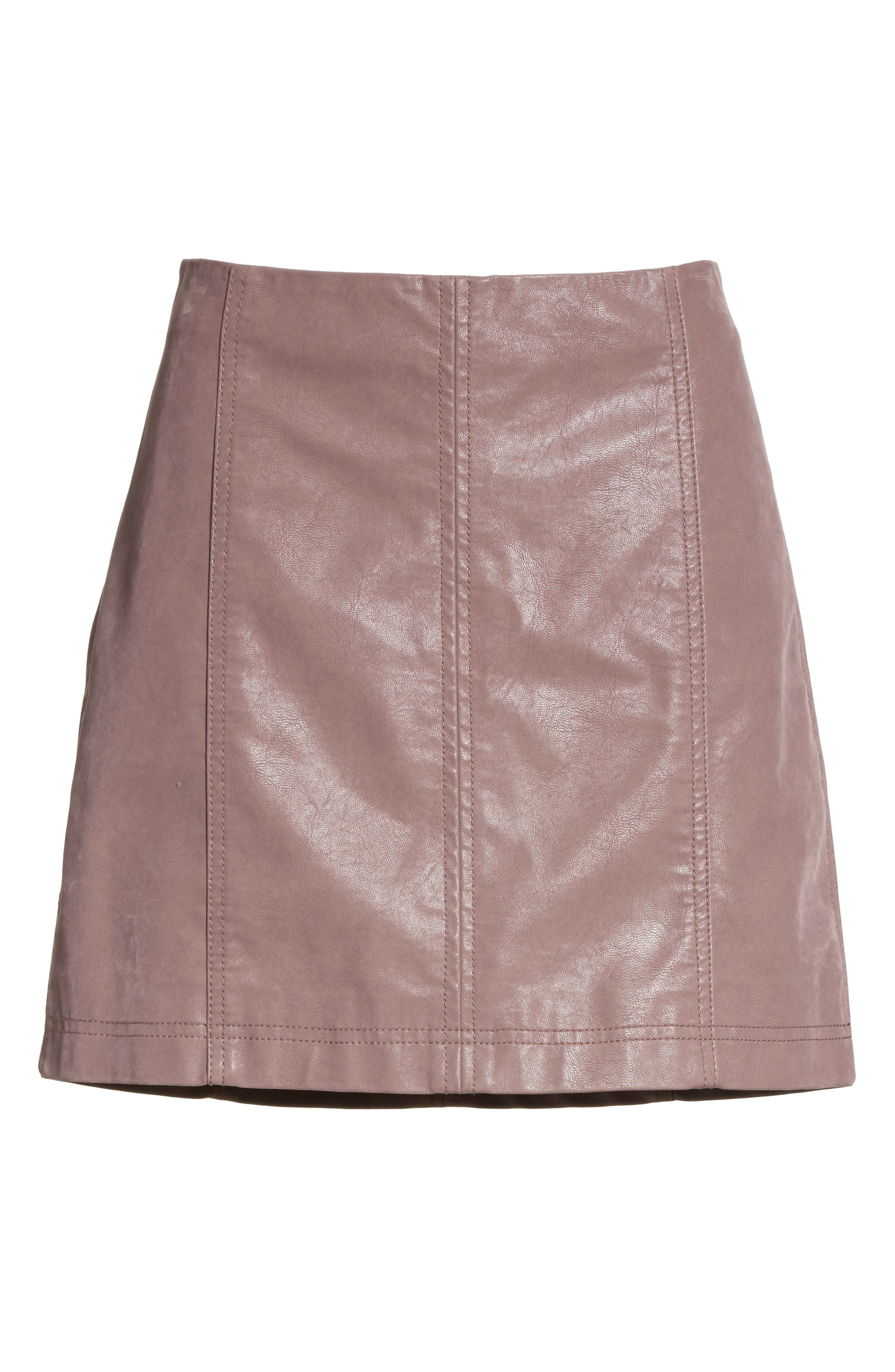 Faux Leather Miniskirt,                             Alternate thumbnail 6, color,                             Mauve