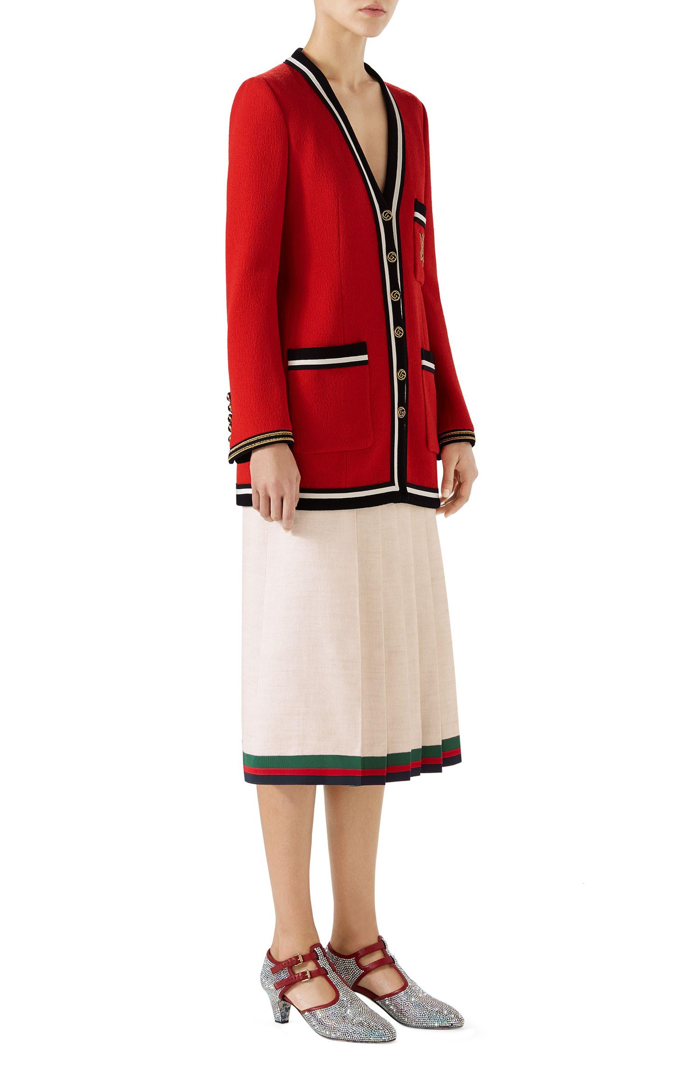 Pleated Linen & Silk Skirt,                             Alternate thumbnail 4, color,                             Gardenia/ B/ R/ V
