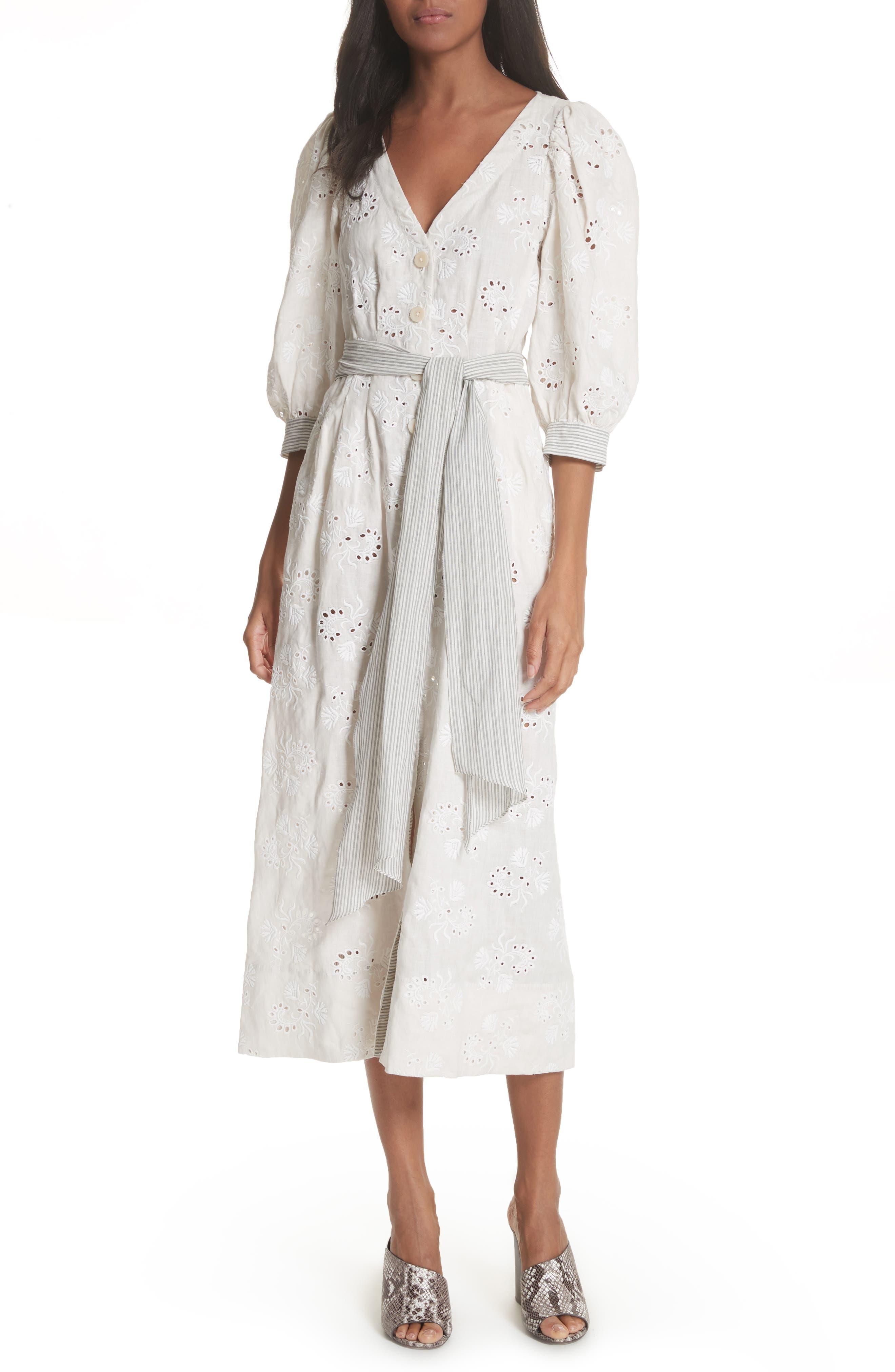 Garden Eyelet Midi Dress,                         Main,                         color, Vanilla/ Milk