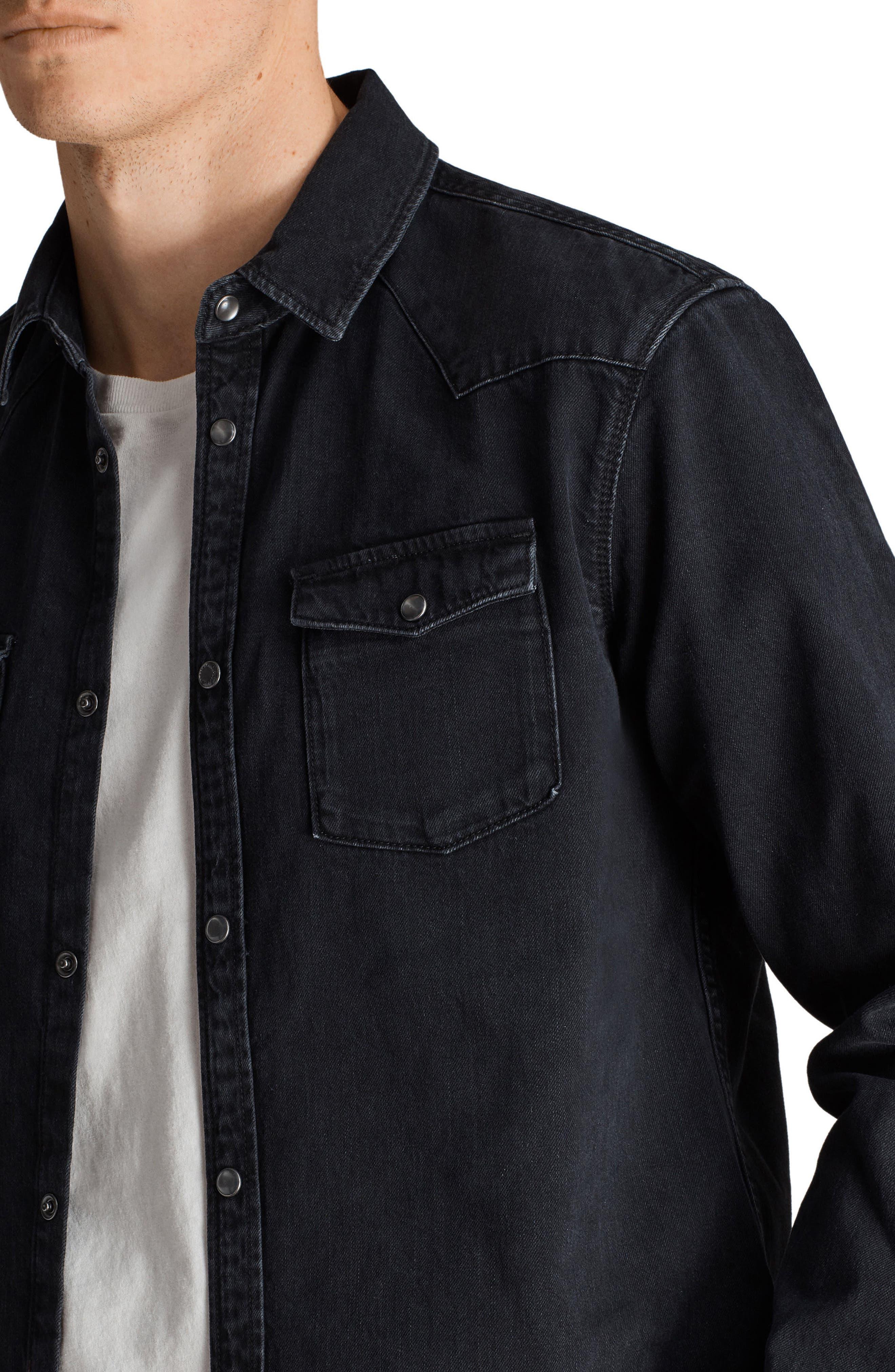 Beck Slim Fit Denim Sport Shirt,                             Alternate thumbnail 3, color,                             Black
