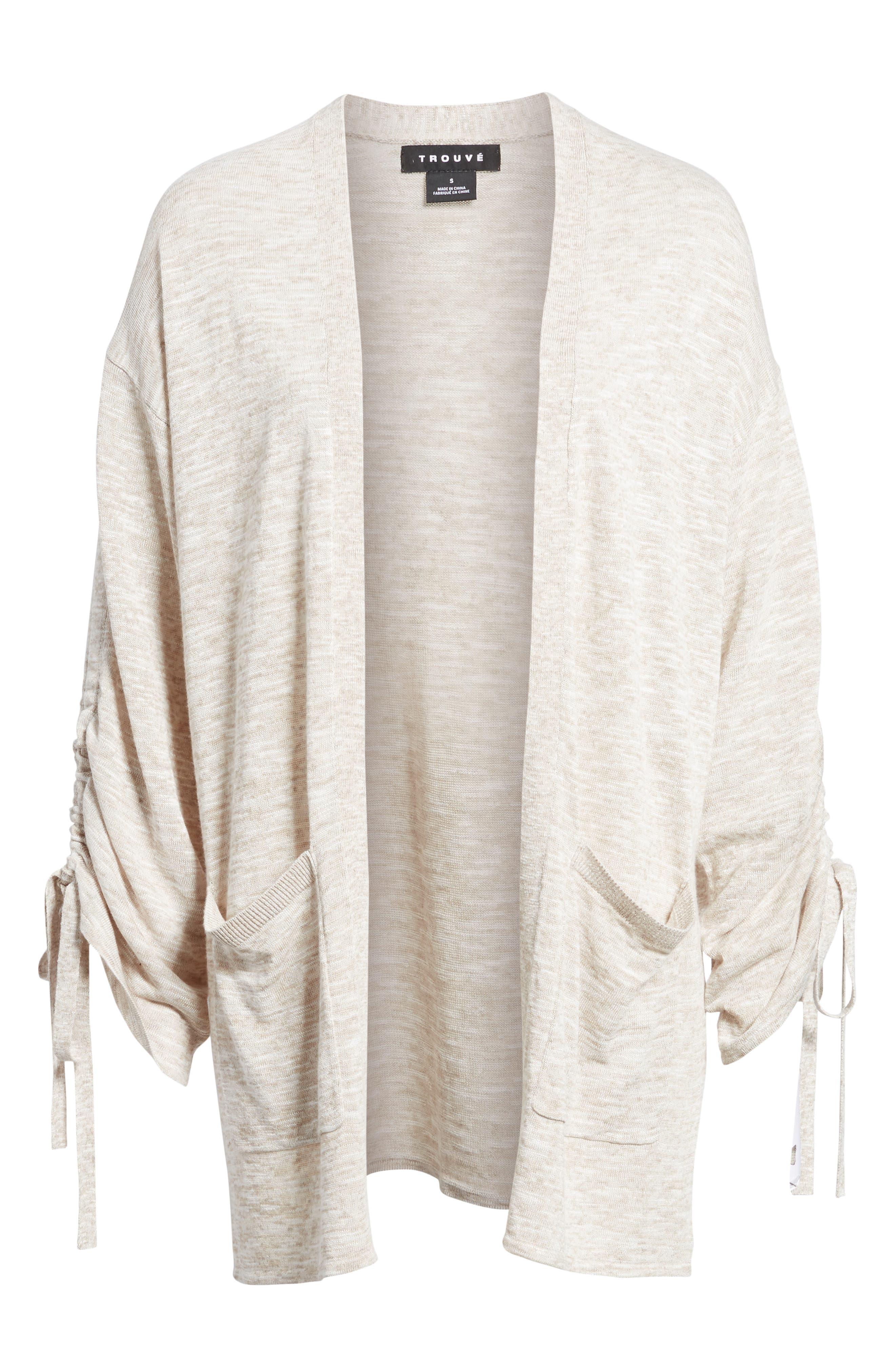 Ruched Sleeve Cardigan,                             Alternate thumbnail 6, color,                             Beige Linen- White Slubs