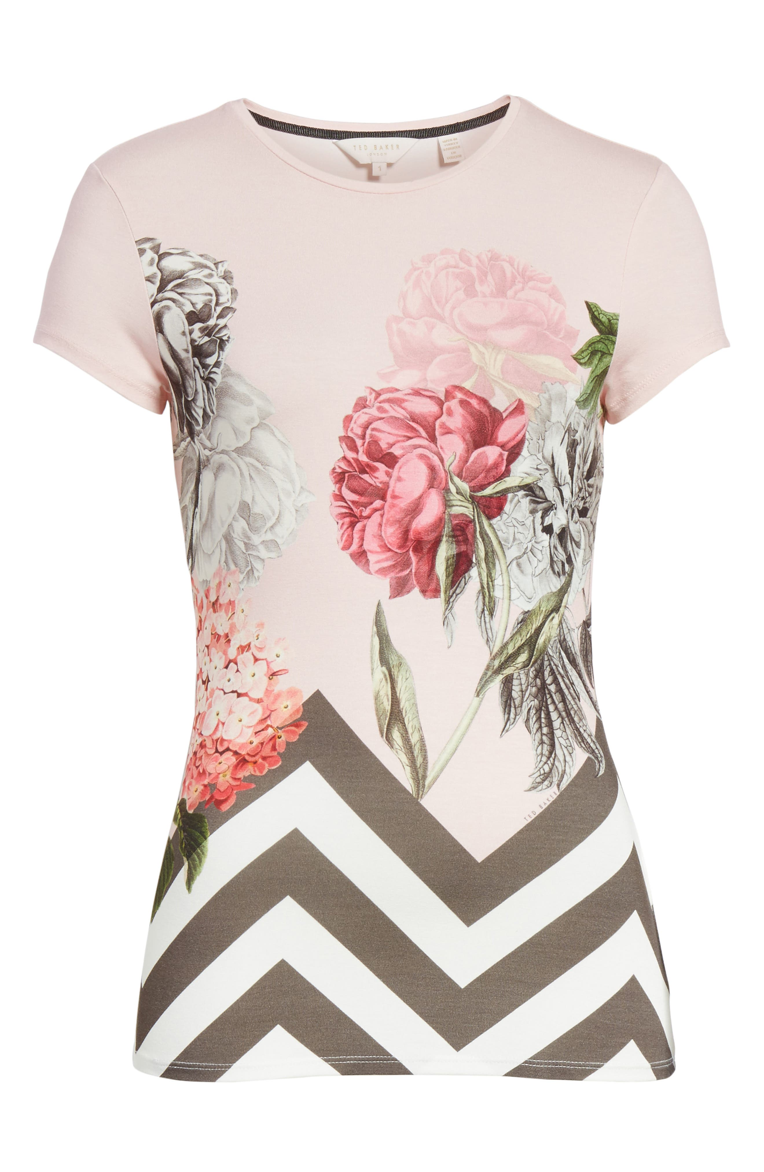 Palace Gardens Fitted Tee,                             Alternate thumbnail 6, color,                             Dusky Pink