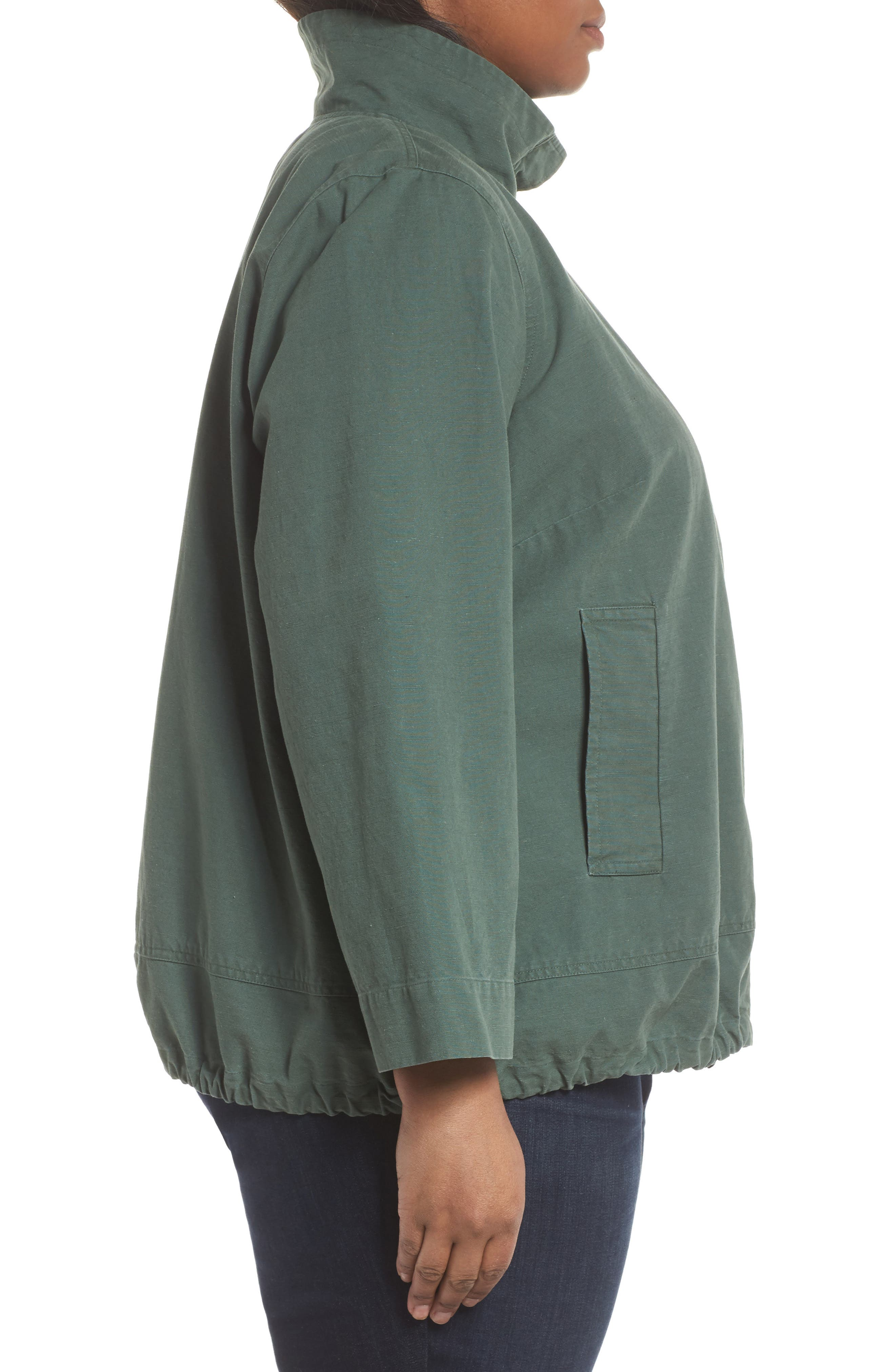 Stand Collar Jacket,                             Alternate thumbnail 4, color,                             Nori