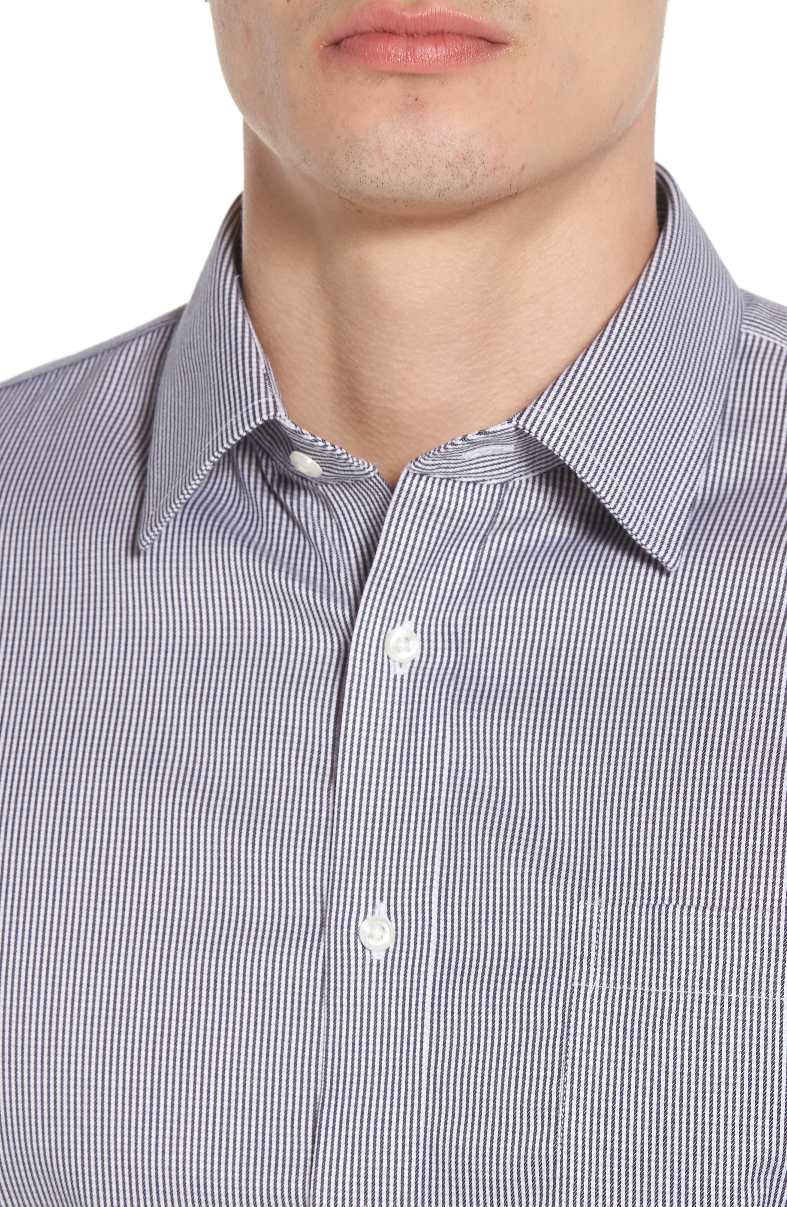 Smartcare<sup>™</sup> Trim Fit Stripe Dress Shirt,                             Alternate thumbnail 2, color,                             Black Rock