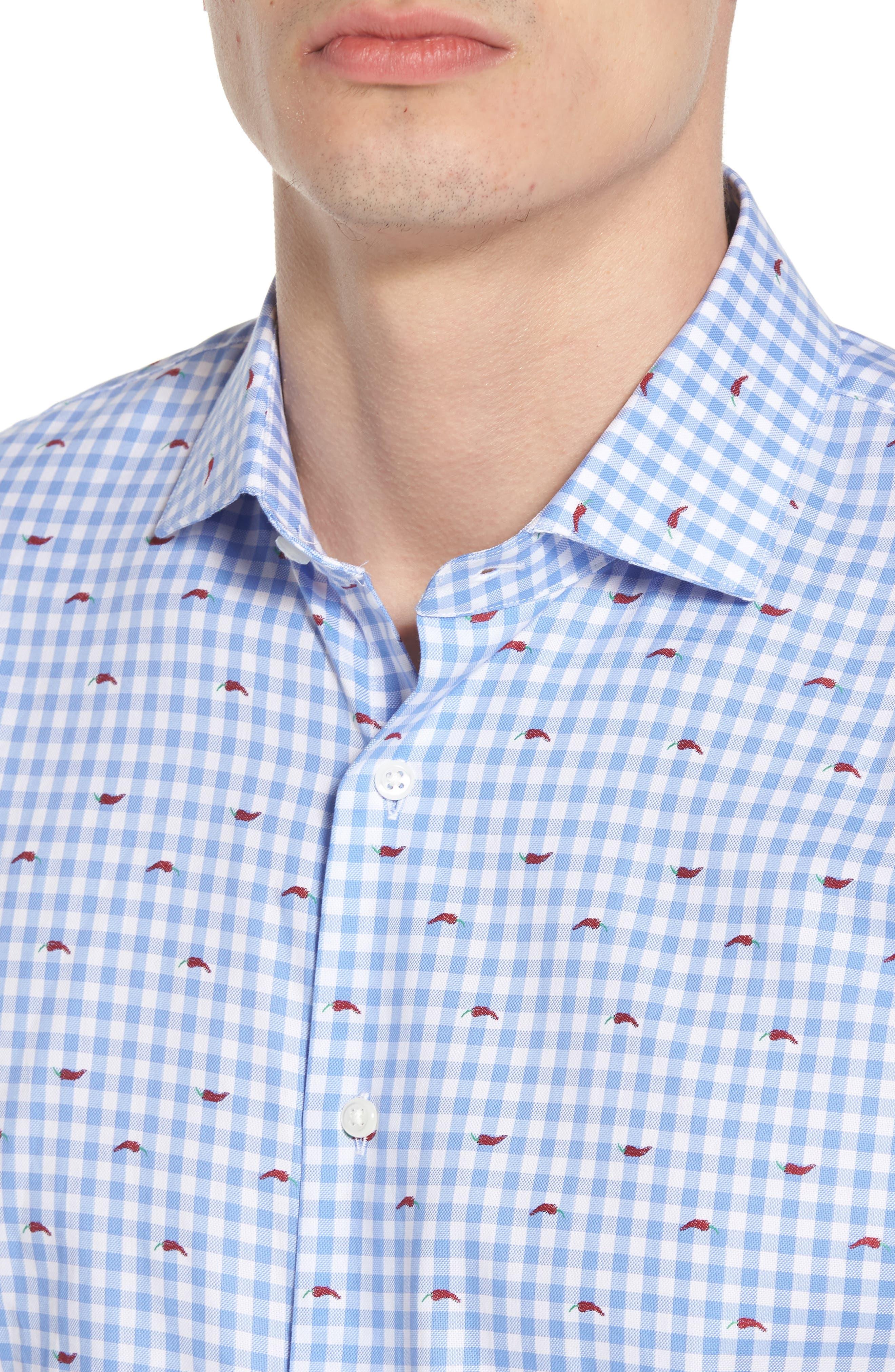 Trim Fit Gingham Chili Pepper Dress Shirt,                             Alternate thumbnail 2, color,                             Blue Hydrangea