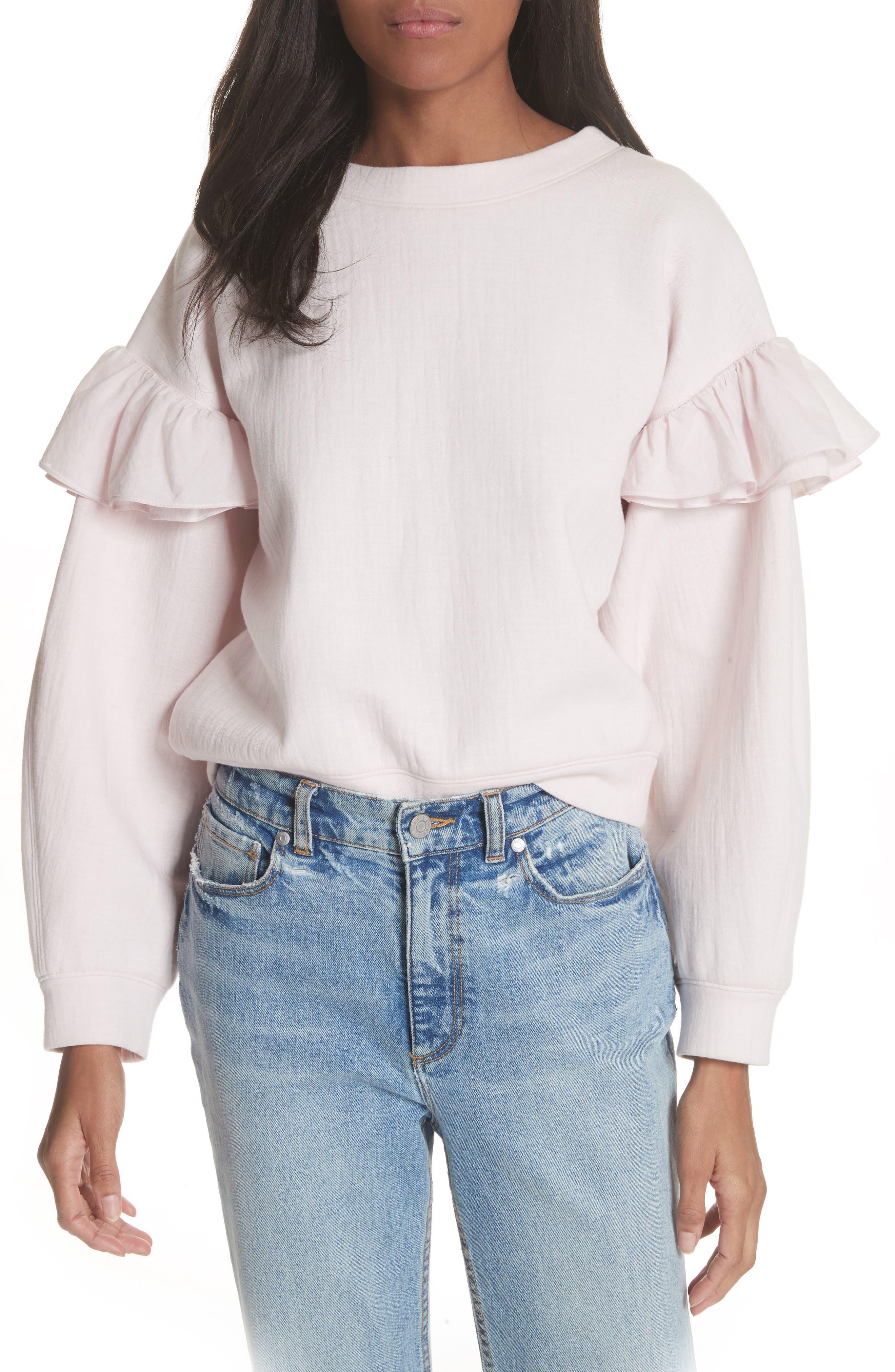 Ruffle Sleeve Sweatshirt,                             Main thumbnail 1, color,                             Candy Floss