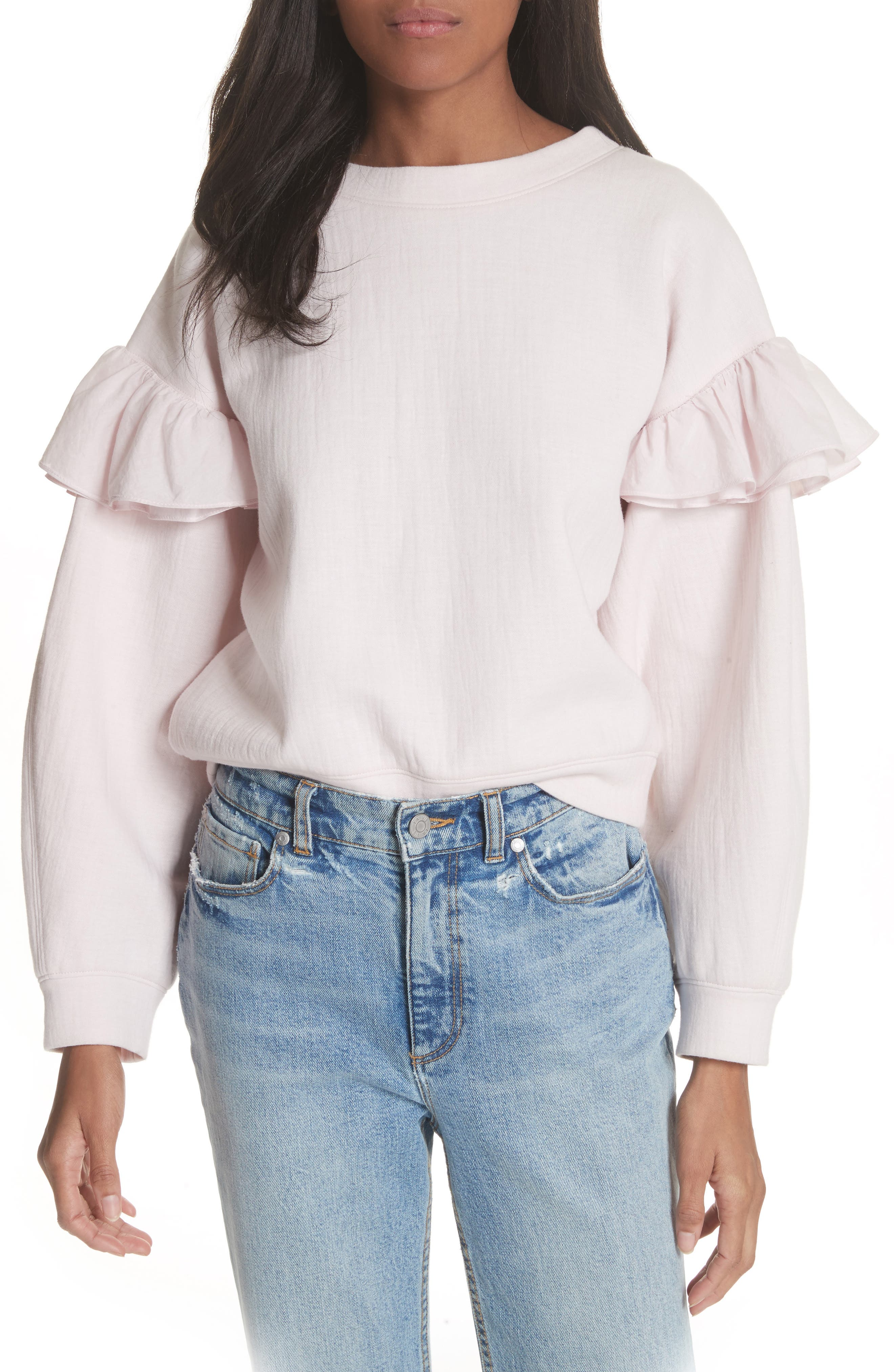 Rebecca Taylor Ruffle Sleeve Sweatshirt