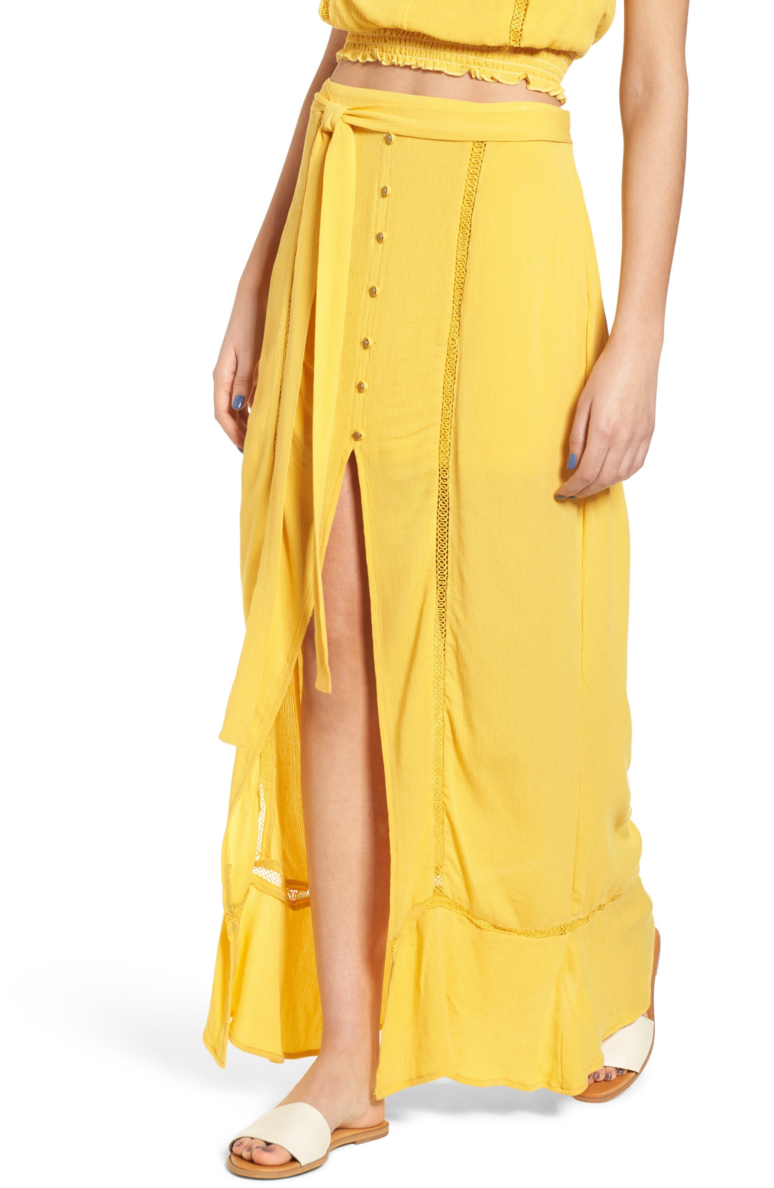 Slit Front Crochet Inset Maxi Skirt,                             Main thumbnail 1, color,                             Yellow Sulphur
