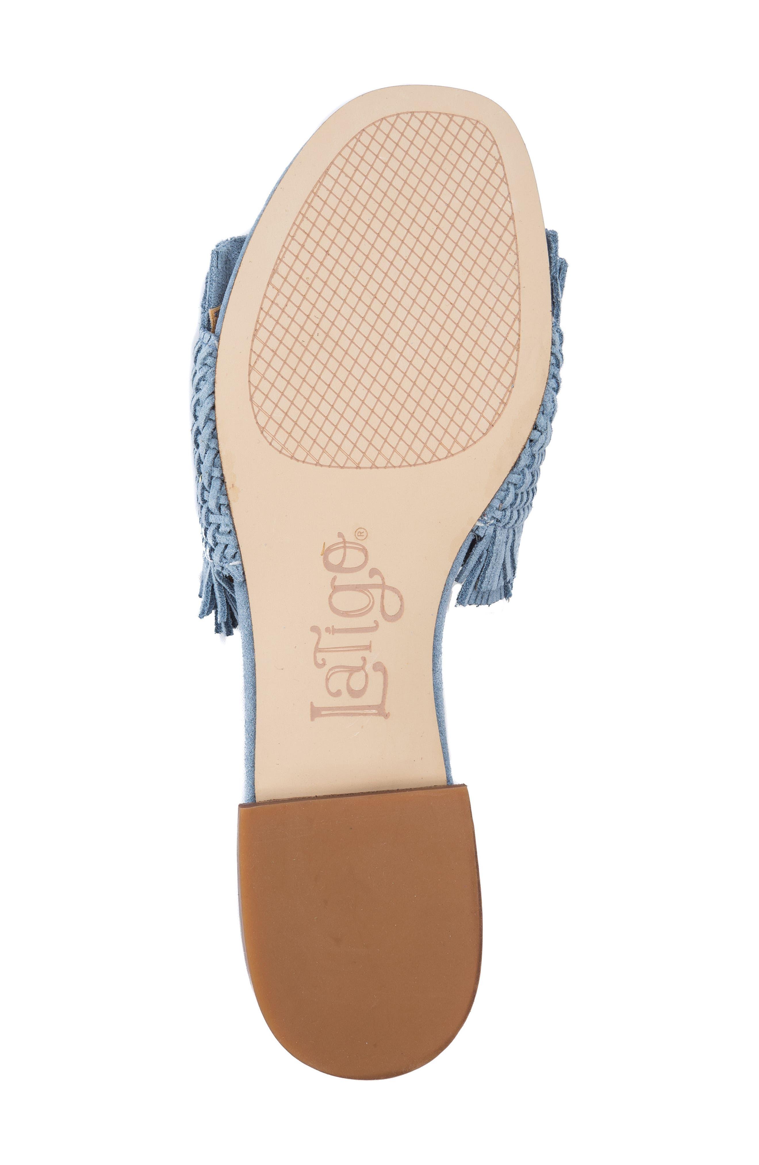 Sofie Fringed Slide Sandal,                             Alternate thumbnail 6, color,                             Light Blue