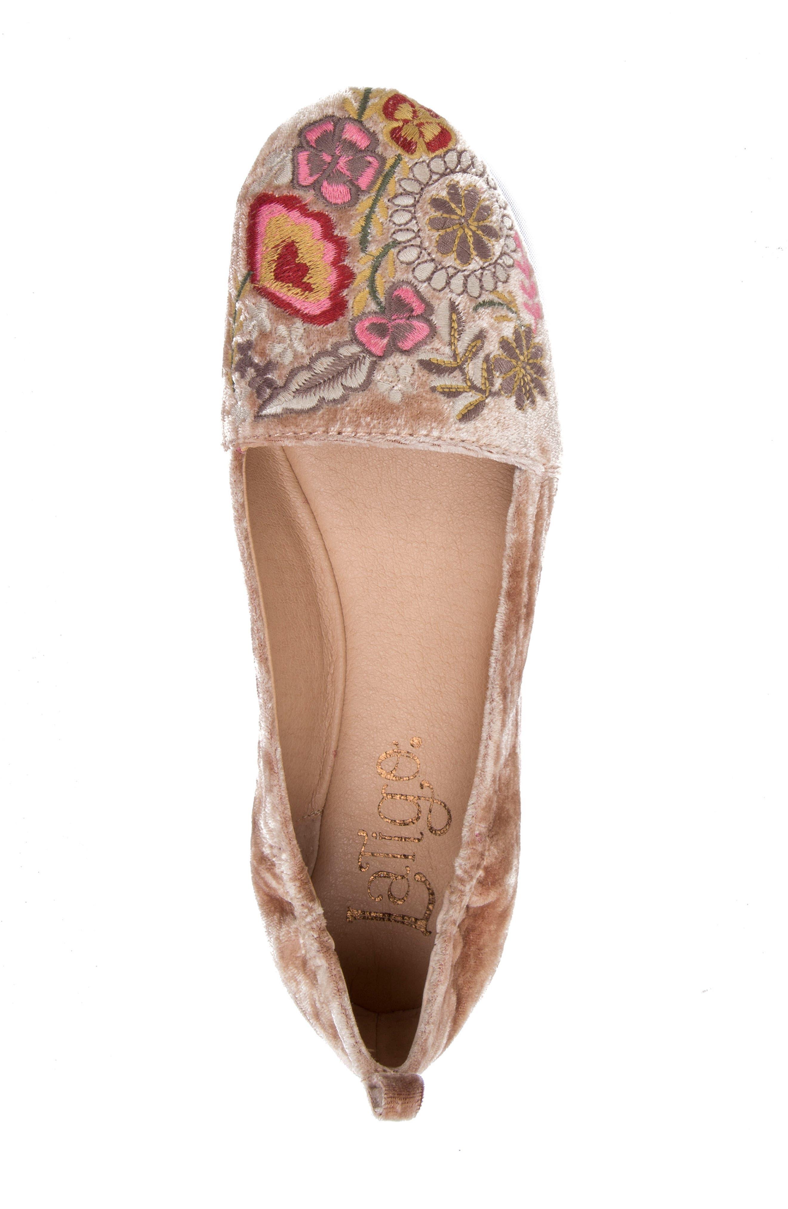 Gayla Floral Embroidered Flat,                             Alternate thumbnail 5, color,                             Rose Velvet