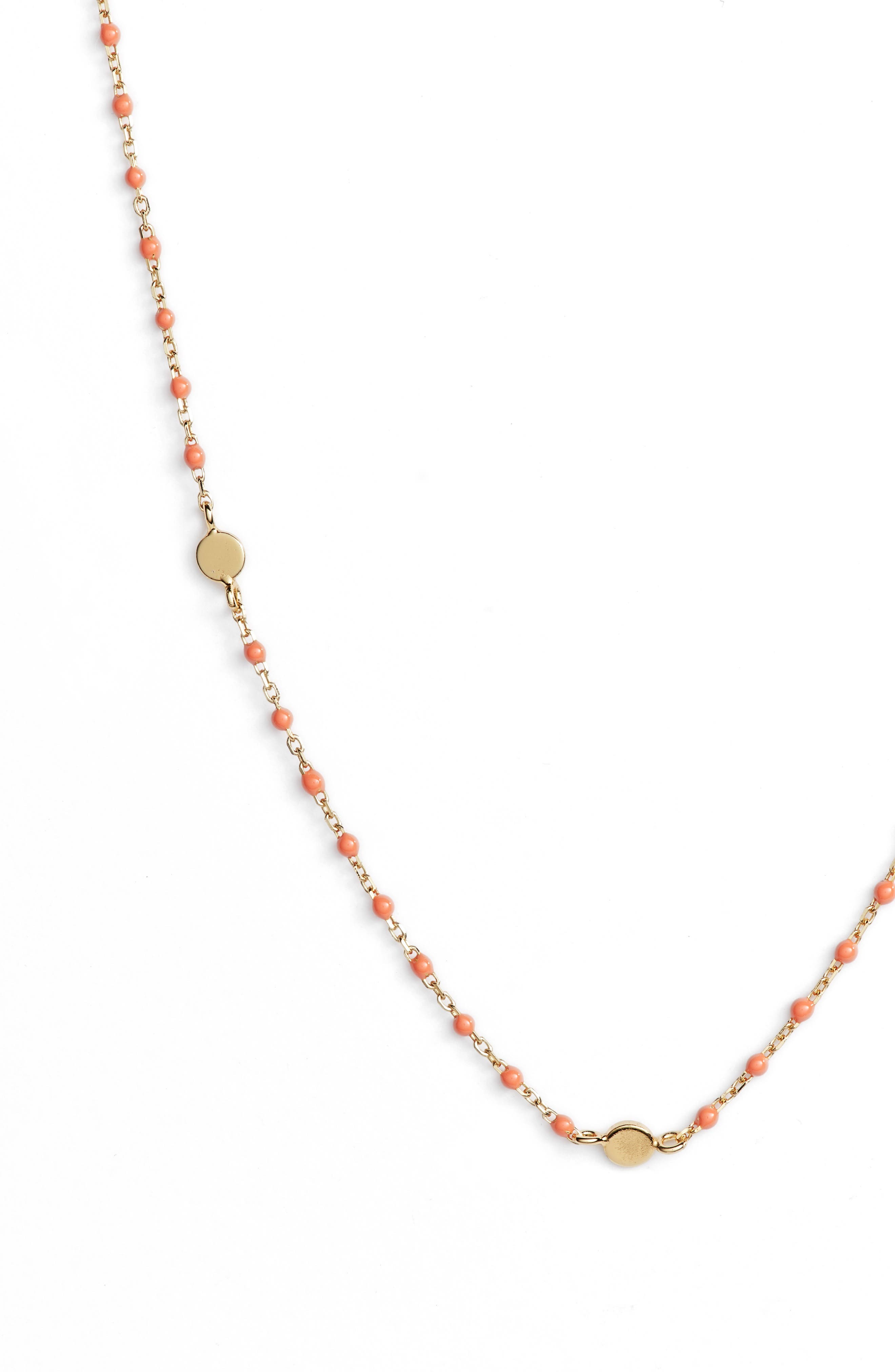 Beaded Station Necklace,                             Alternate thumbnail 2, color,                             Gold/ Coral