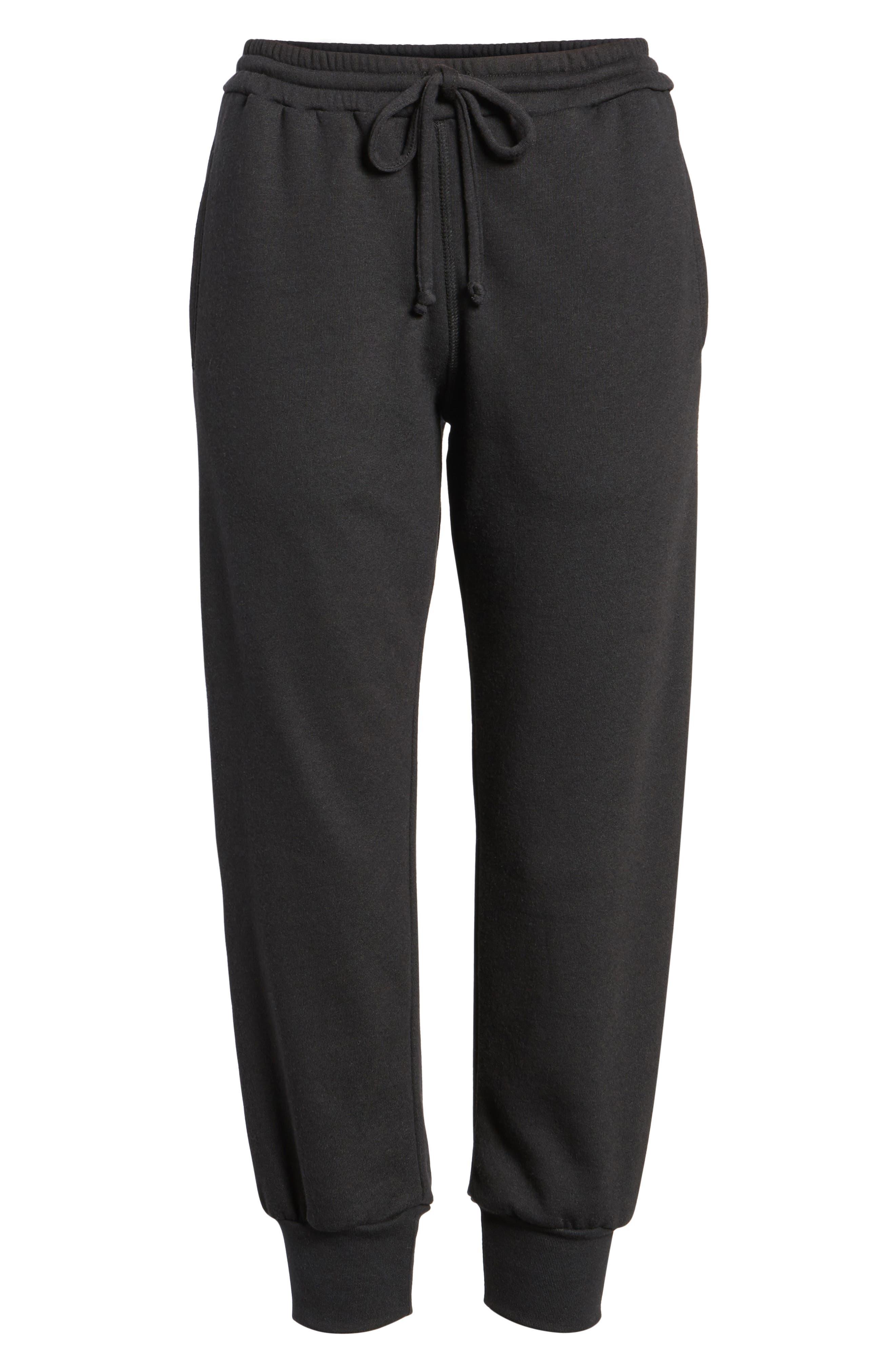 Gym & Tonic Crop Sweatpants,                             Alternate thumbnail 7, color,                             Black