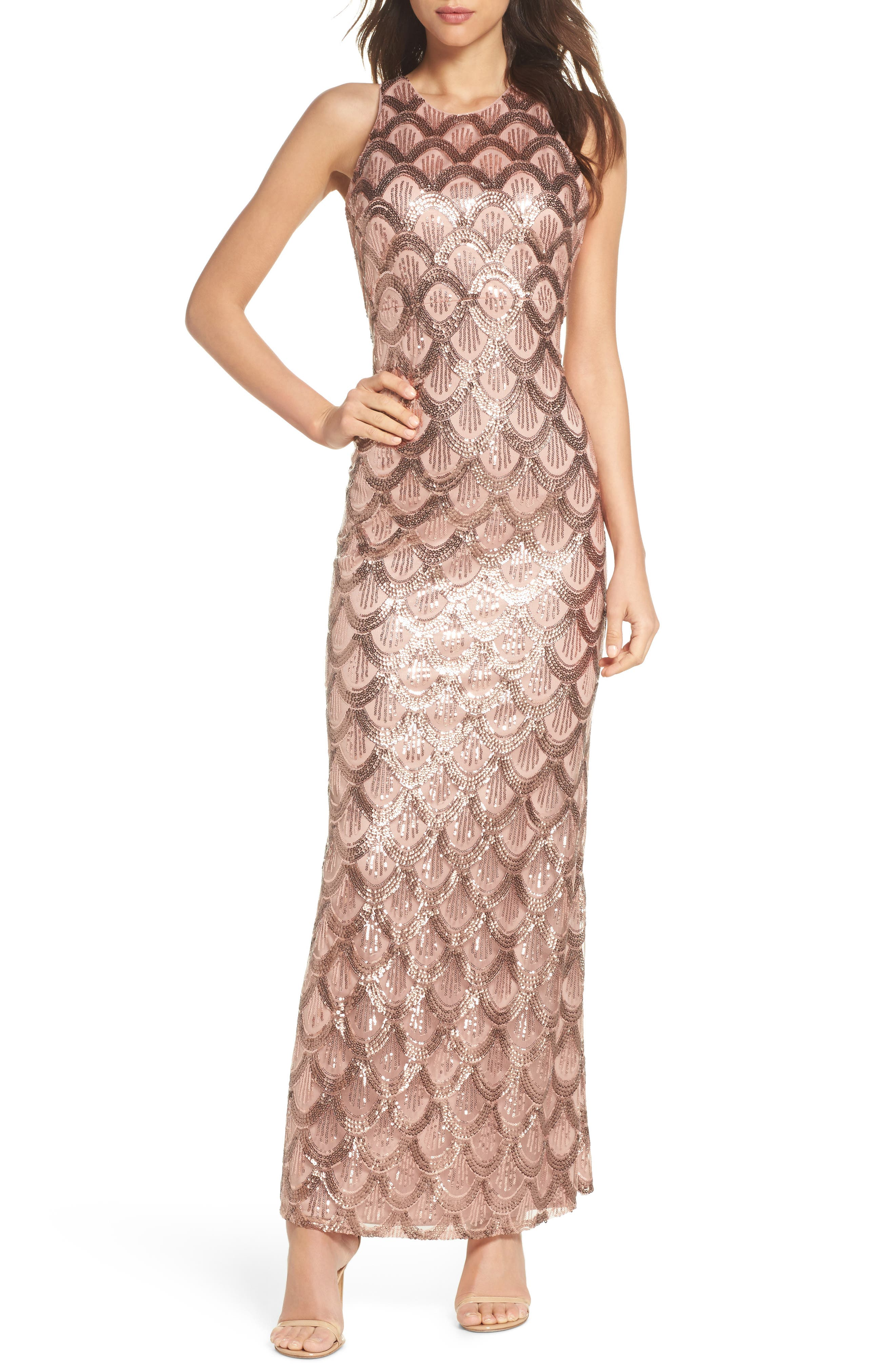 Strappy Back Sequin Gown,                             Main thumbnail 1, color,                             Rose Gold