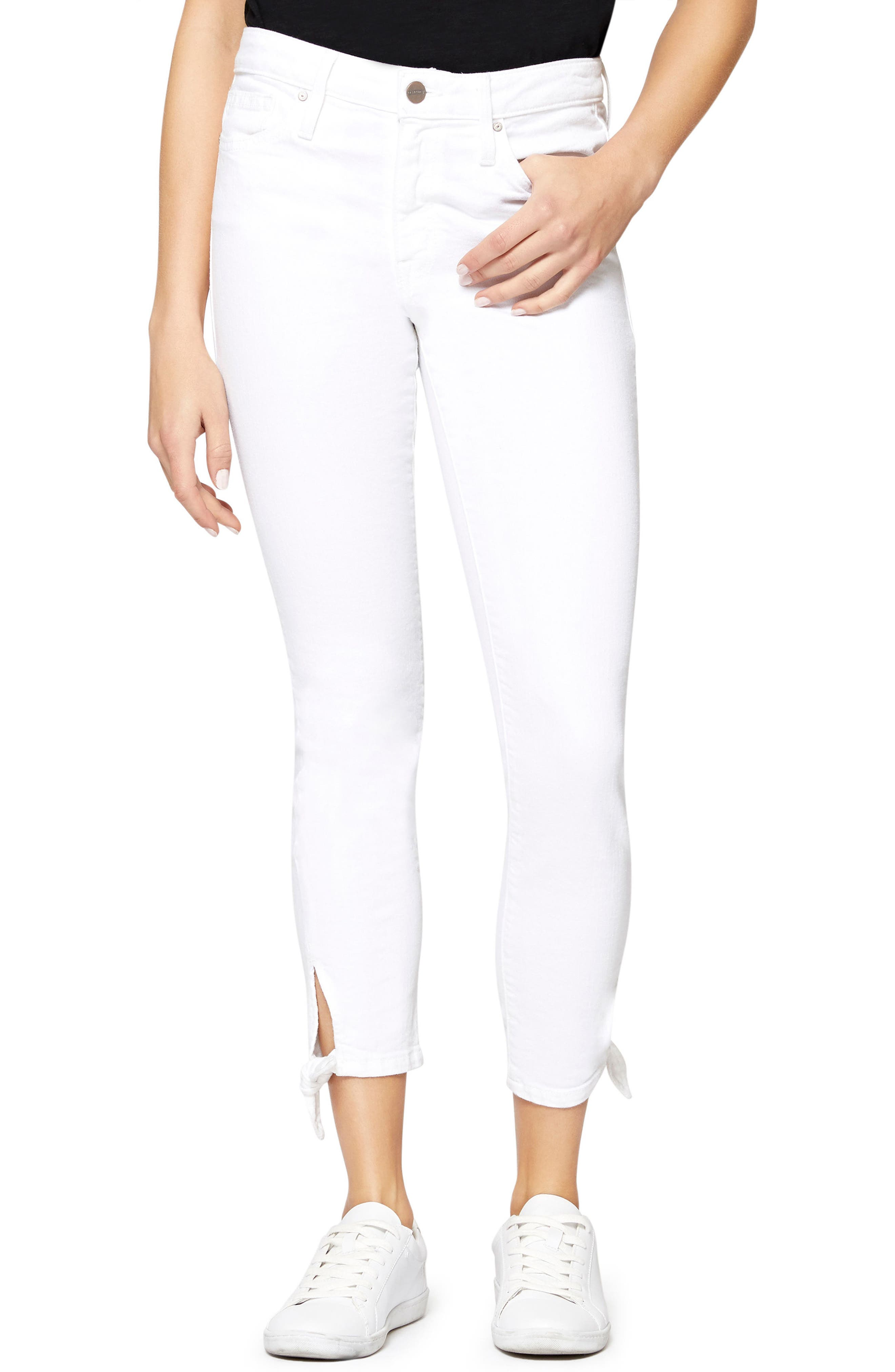 Robbie Ankle Tie Jeans,                         Main,                         color, White